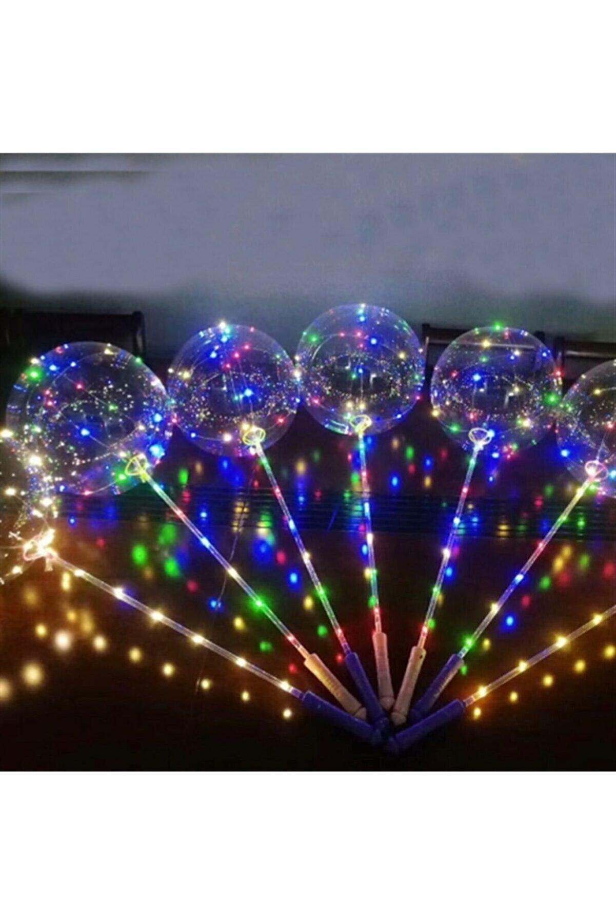 ElitTR 3 Metre Fonksiyonlu Işıklı Transparent Led Şeffaf Balon Çubuklu Set (1 Adet)