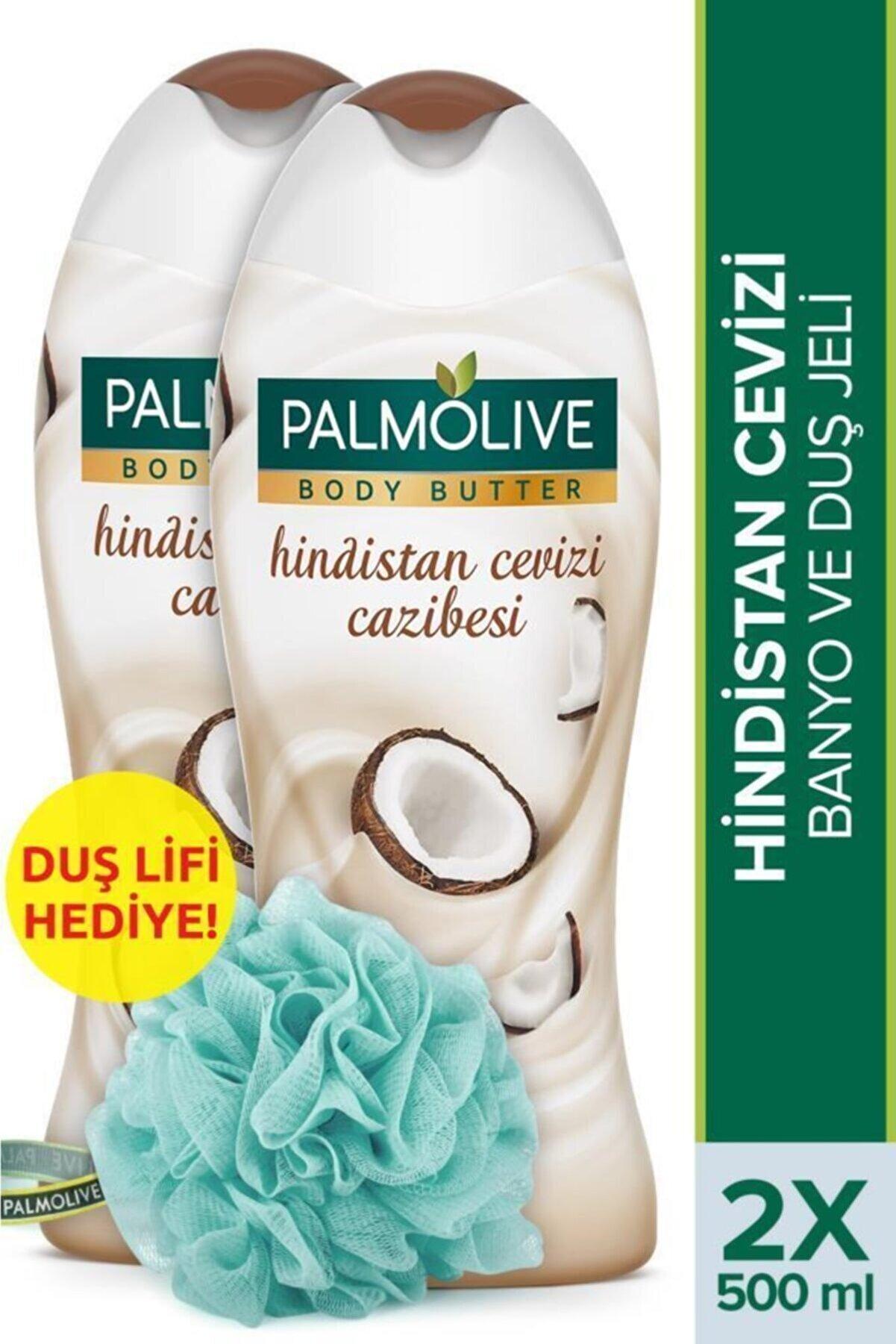 Palmolive Body Butter Hindistan Cevizi Cazibesi Banyo ve Duş Jeli 500 ml x 2 Adet + Duş Lifi Hediye