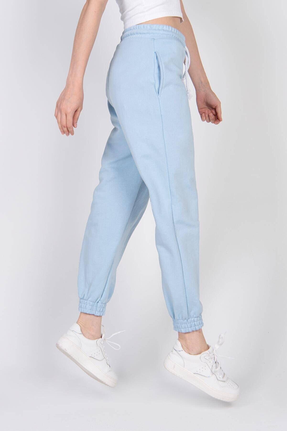 Addax Kadın Buz Mavi Paçası Lastikli Eşofman Eşf9430 - G1H1 Adx-0000022199