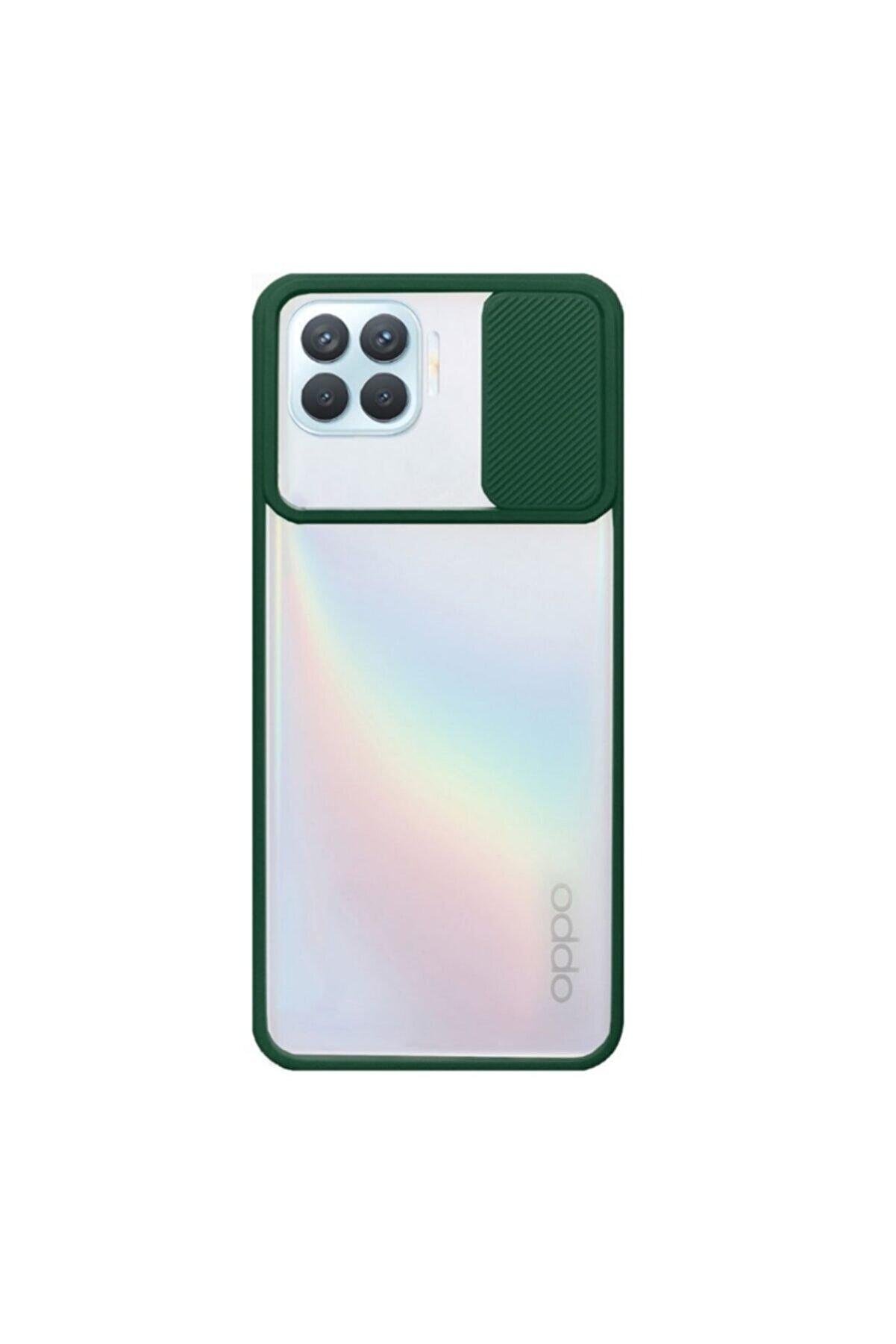 Oppo Nihcase Reno4 Lite Kılıf Lensi Kamera Korumalı Silikon Yeşil