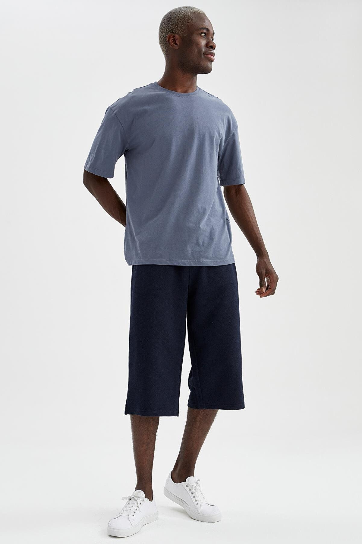 Defacto Erkek Lacivert Regular Fit Basic Kapri Şort