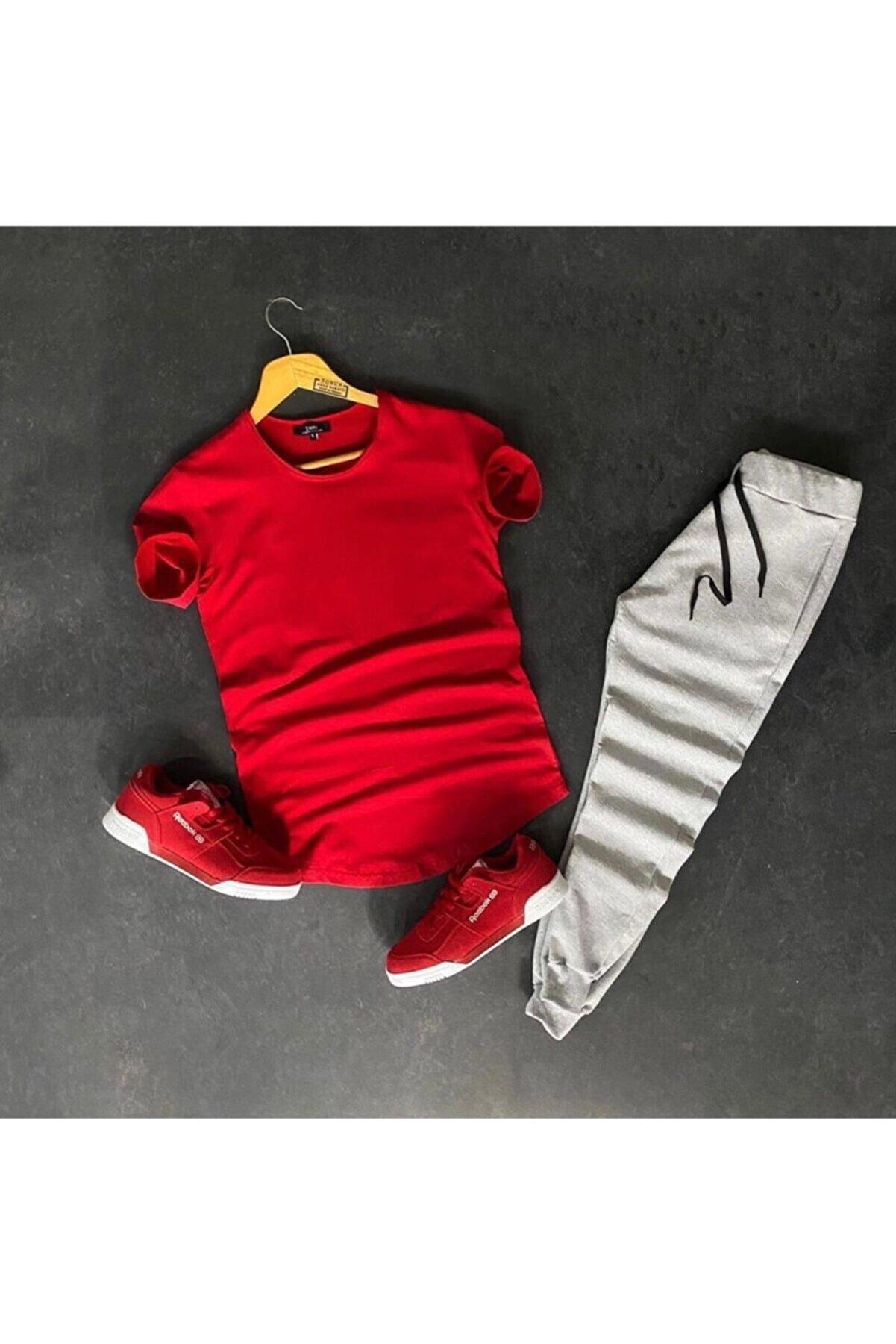 stonehill Erkek Basic Kırmızı Tshirt Eşofman İkili Takım