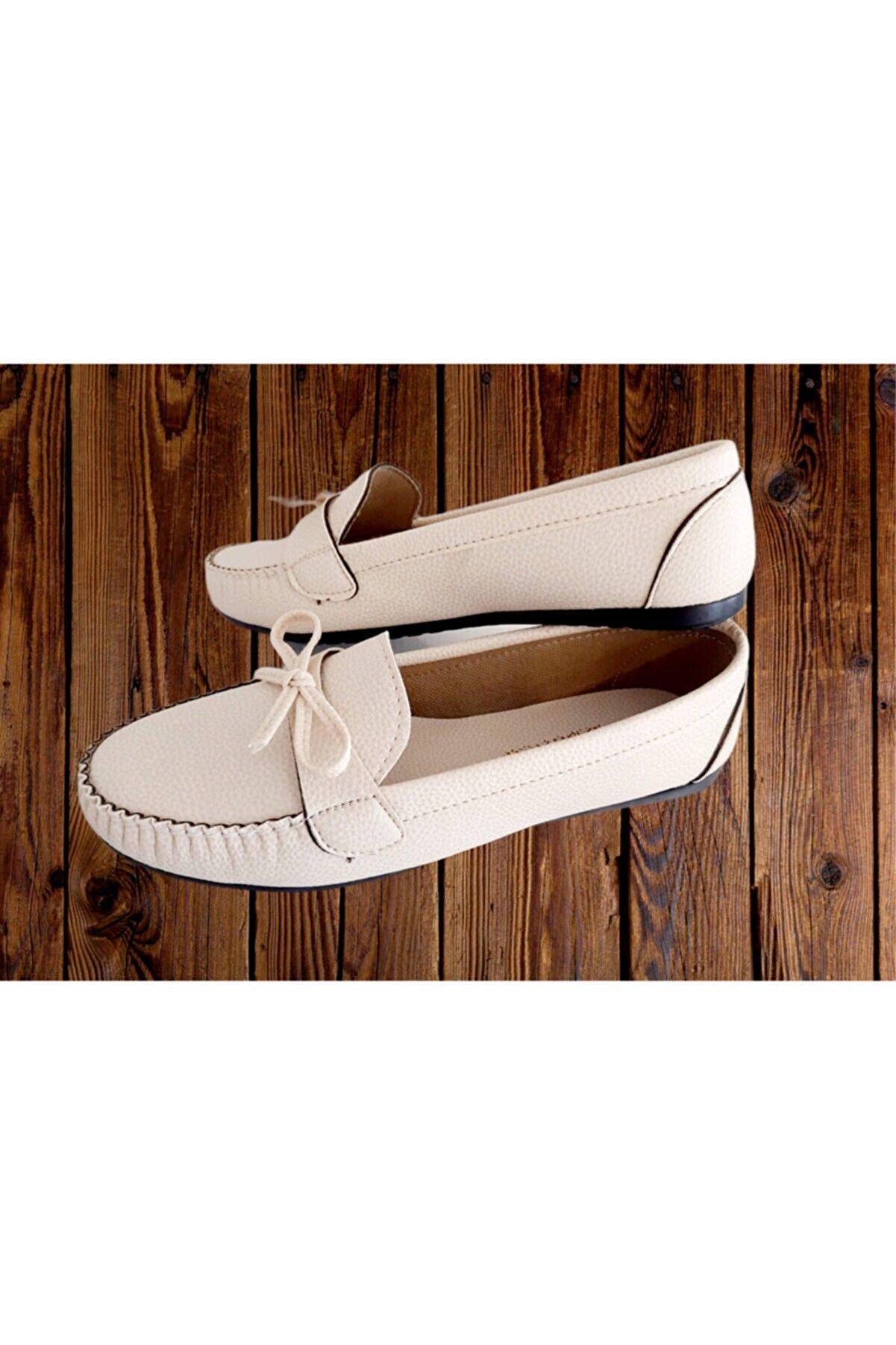 ASKA SHOES Kadın Bej Fiyonklu Babet Ayakkabı