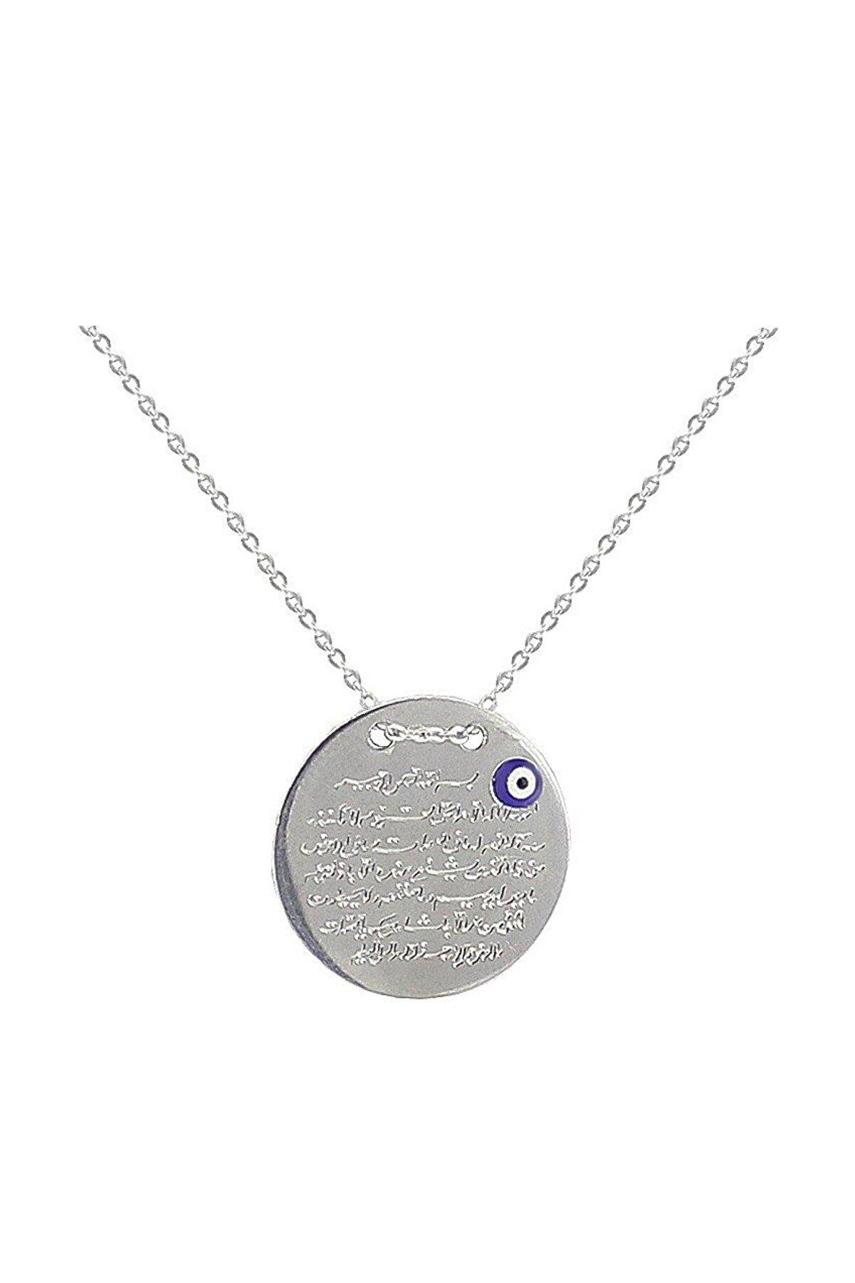 Söğütlü Silver 925 Ayar Gümüş Rodyumlu Ayetel Kursi Yazılı Kolye SGTL2712