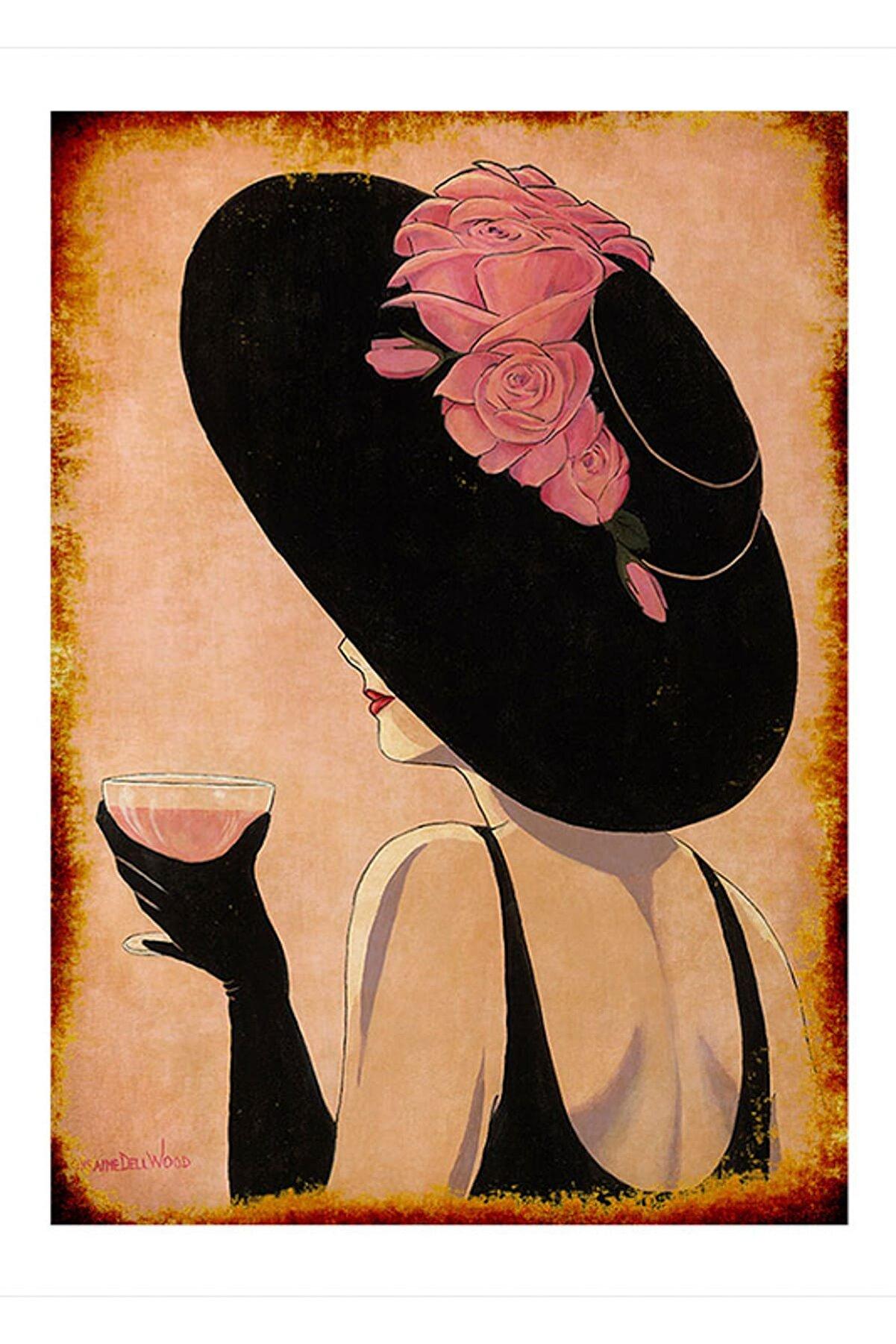 Cakatablo 50cmX70cm Ahşap Tablo şarap ve kadın