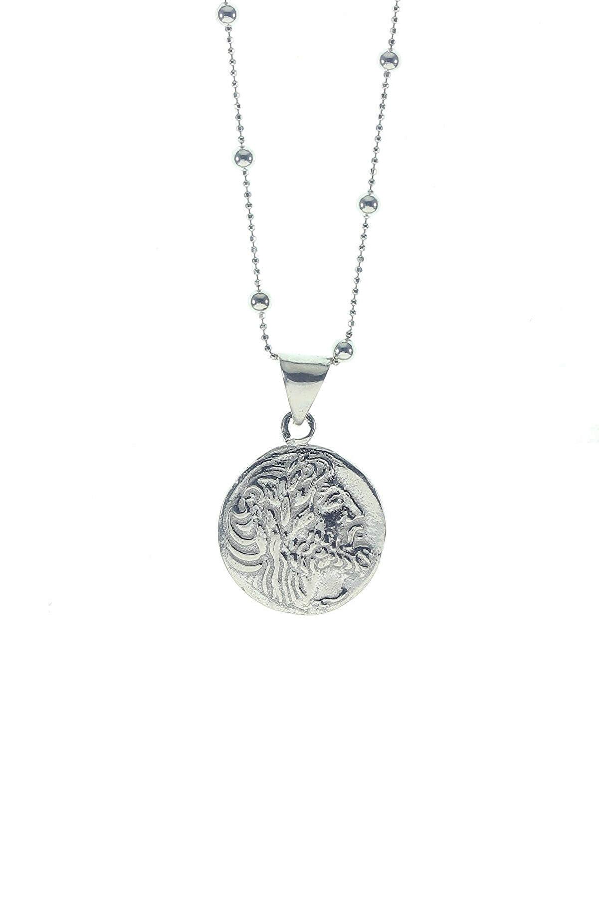 Söğütlü Silver Kadın Gümüş Renk Gümüş Top Top Zincirli Antik Para Kolye SGTL8752