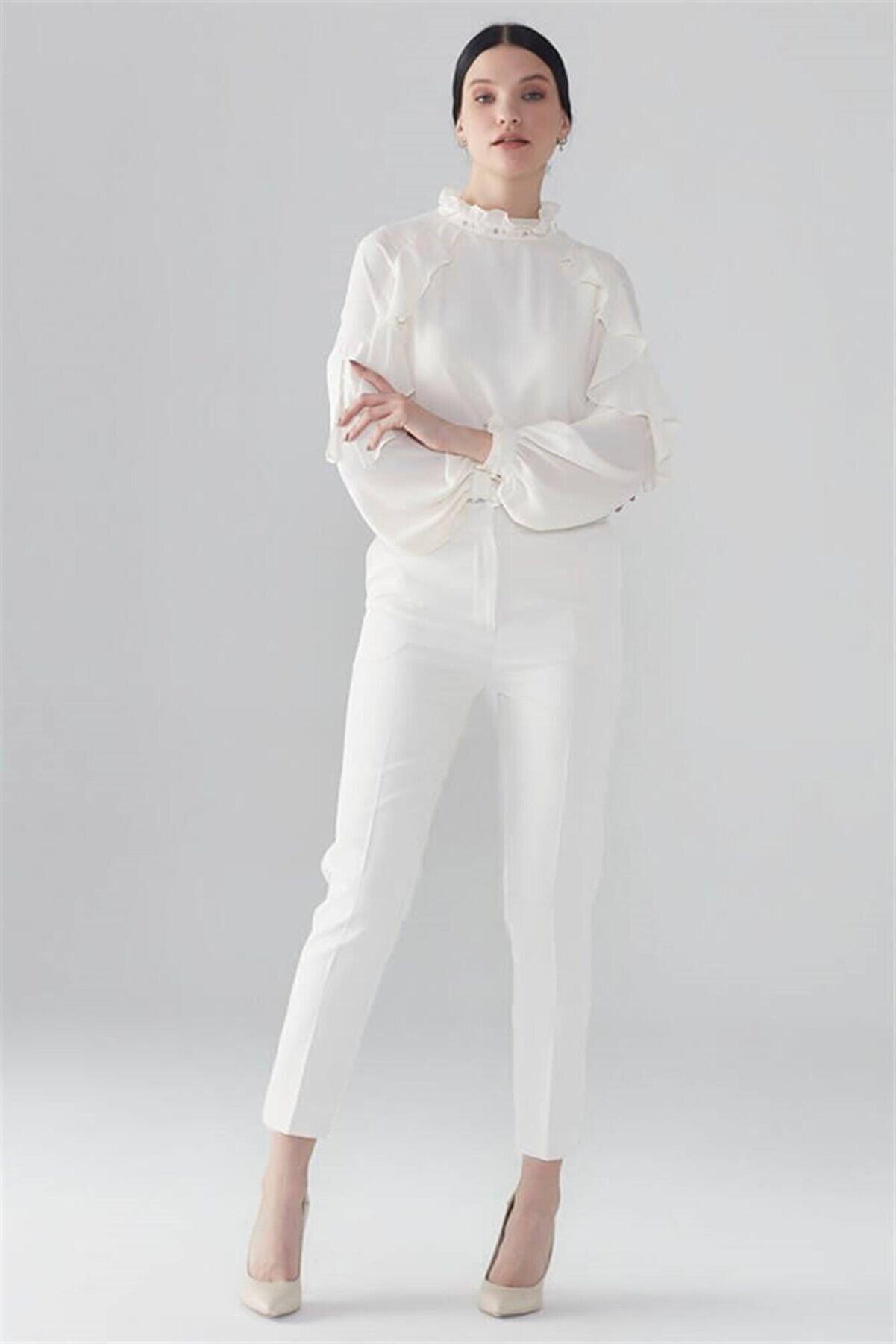 Zühre Kadın Ekru Pantolon P-0024