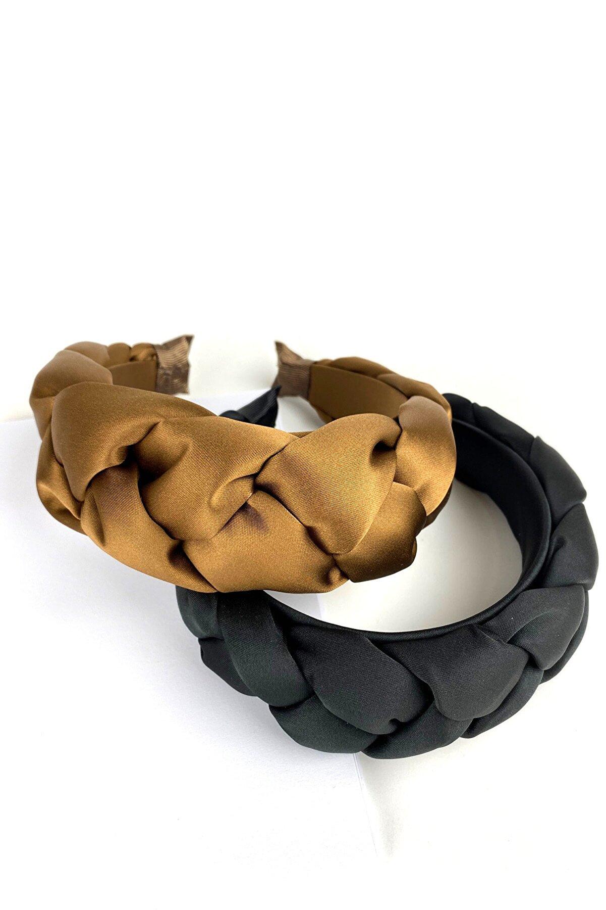 BYHELS Kadın Siyah Ve Bronz Renk Lüx Örgülü Taç Saç Bandı Seti