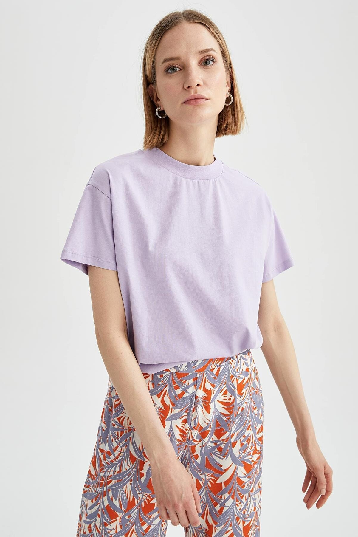 Defacto Kadın Mor Relax Fit Basic Kısa Kol T-Shirt