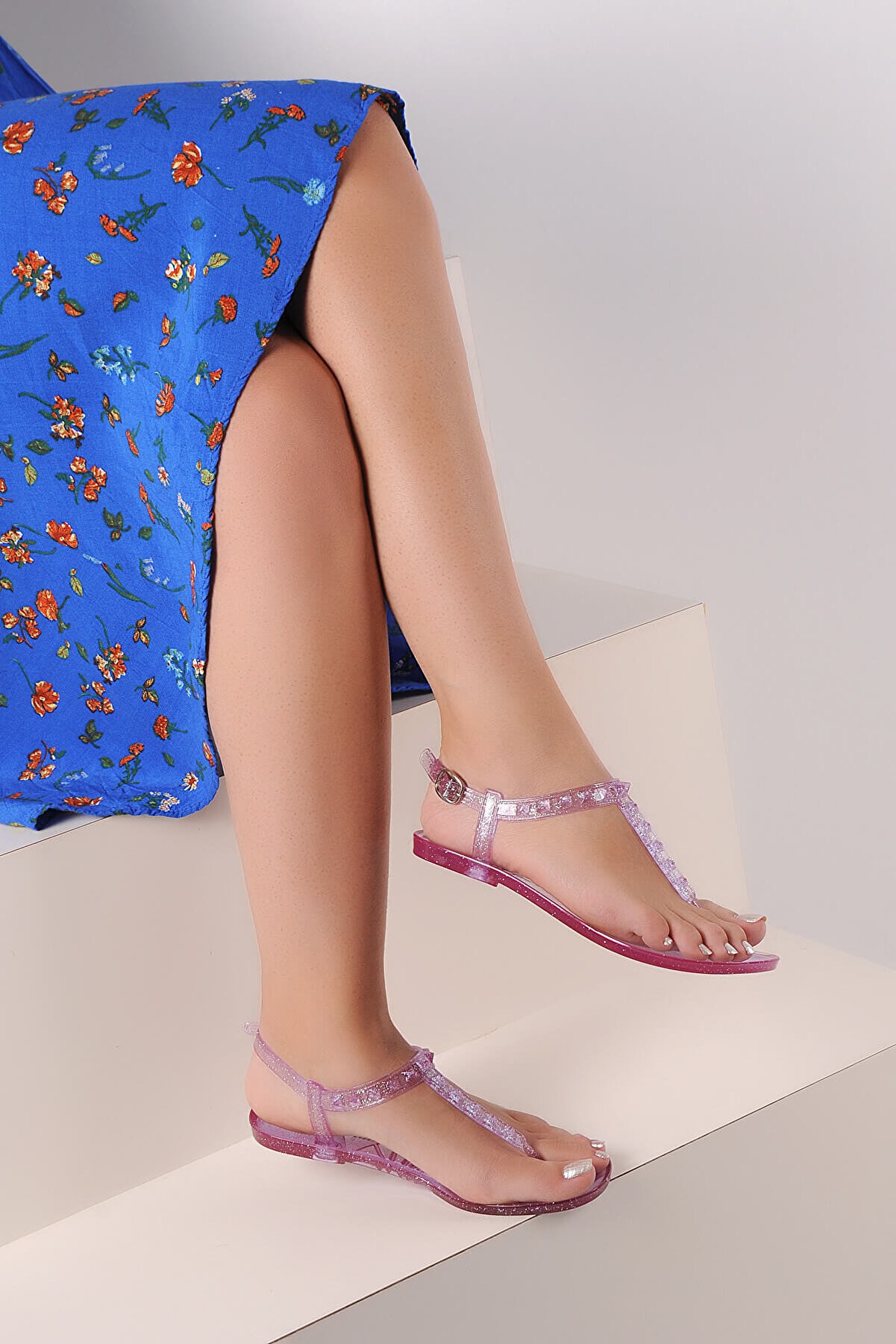 Pembe Potin Lila Kadın Sandalet A1605-17
