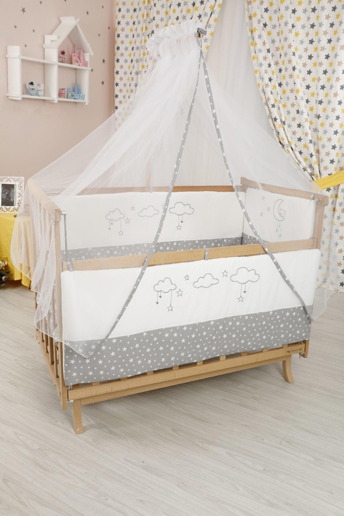 Bebekonfor Gri Yıldızlı Uyku Setli Doğal Karyola Beşik