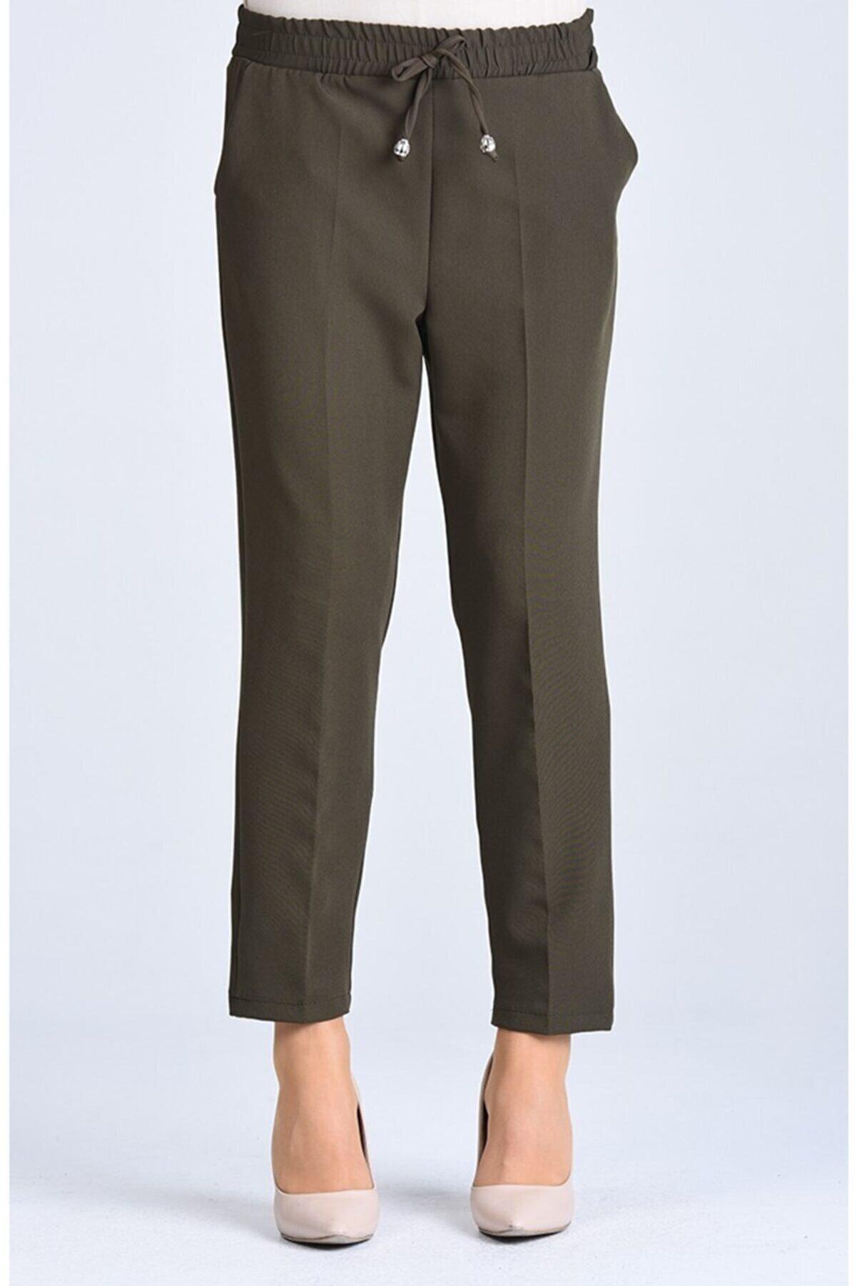 Essah Moda Kadın Haki Lastikli Havuç Pantolon - Me000272