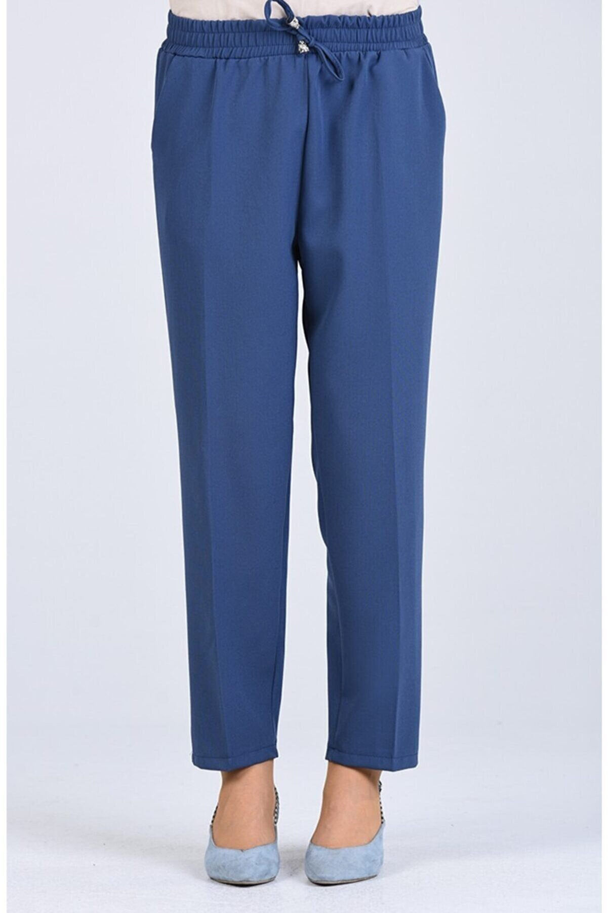 Essah Moda Kadın Mavi Lastikli Havuç Pantolon - Me000275