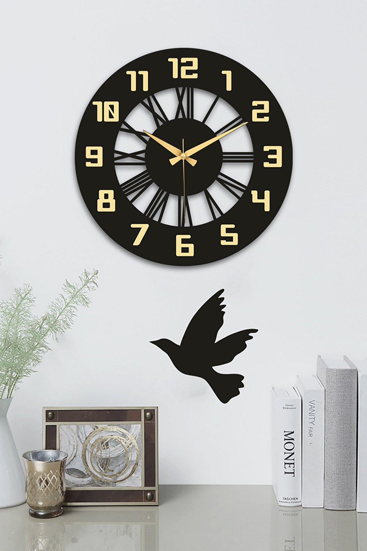 stilinbu Siyah Dekoratif Roma Ve Latin Rakamları Aynalı Duvar Saati 41x41cm ve Kuş Figür