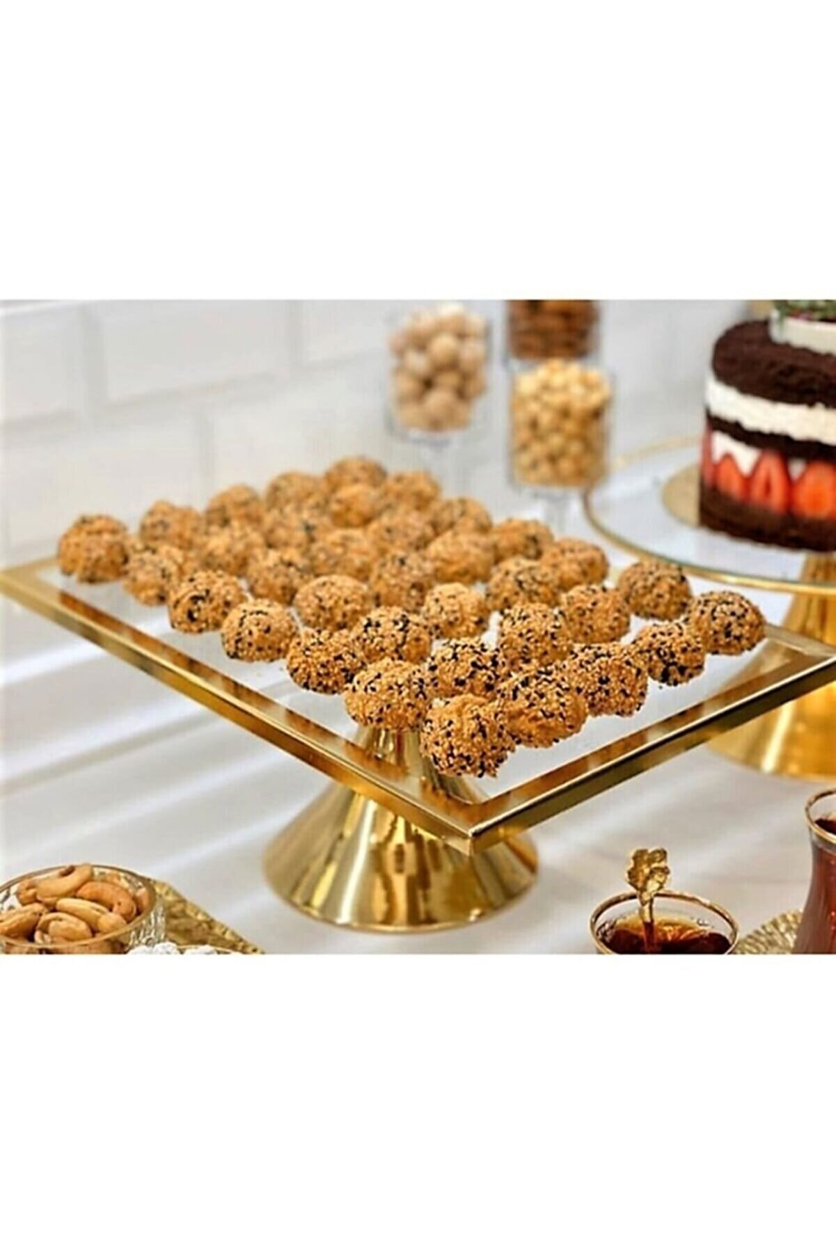 Olcay Home Lüx Dikdörtgen Ayaklı Kek Ve Pasta Sunum Standı - Gold