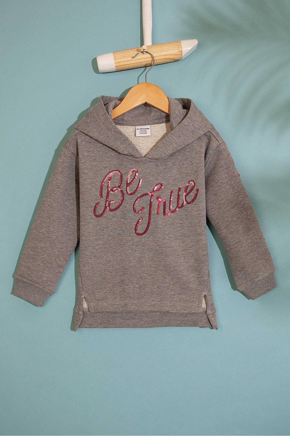 US Polo Assn Gri Kız Çocuk Sweatshirt