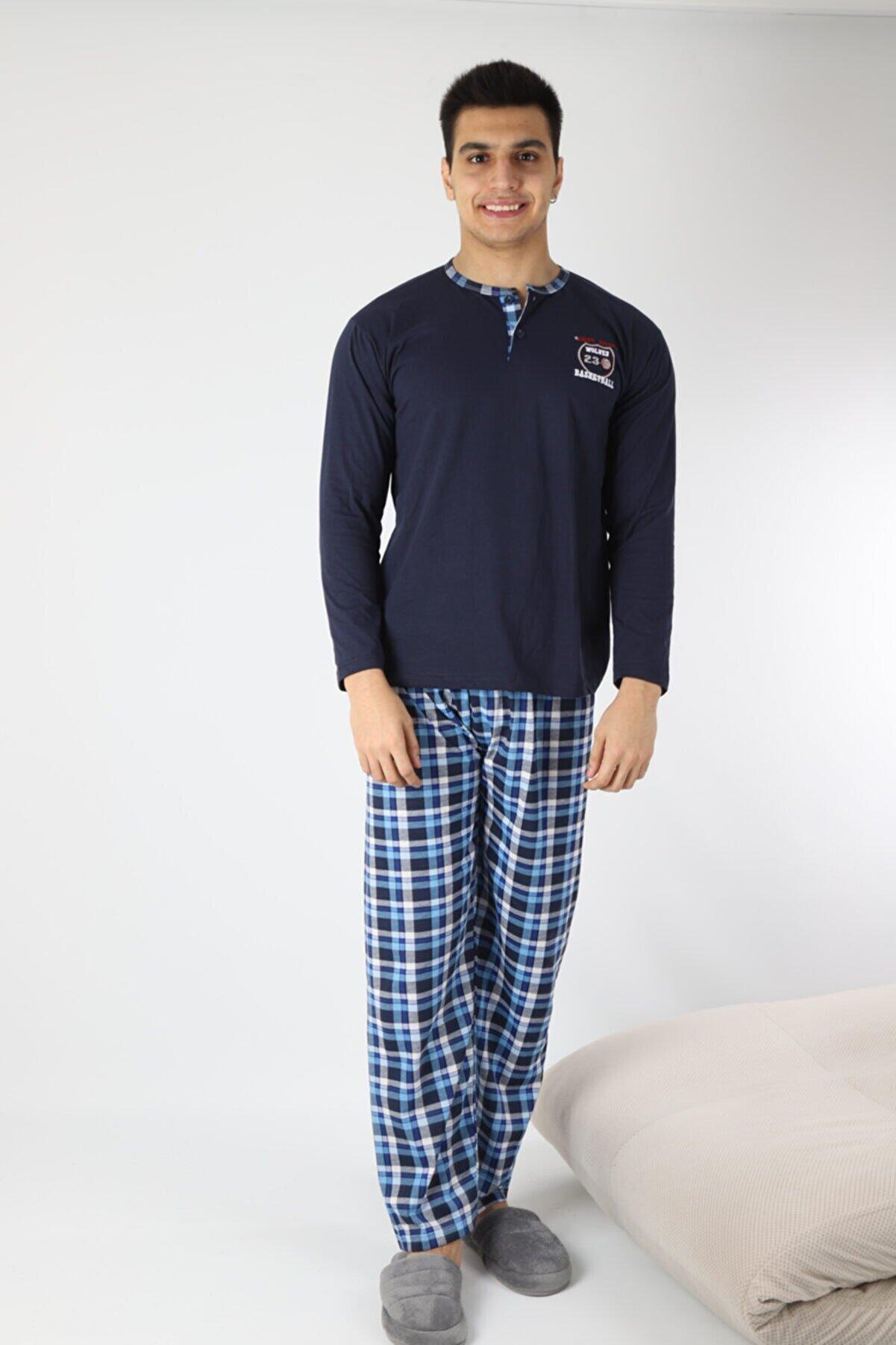 Rimoli Erkek Lacivert Pamuk 3 Düğmeli Pijama Takımı