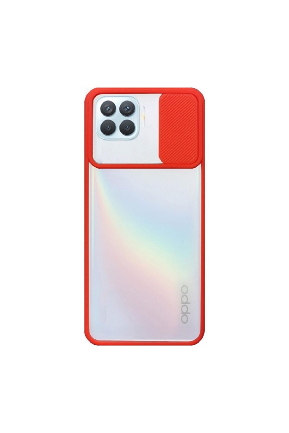 Oppo Nihcase Reno4 Lite Kılıf Lensi Kamera Korumalı Silikon Kırmızı