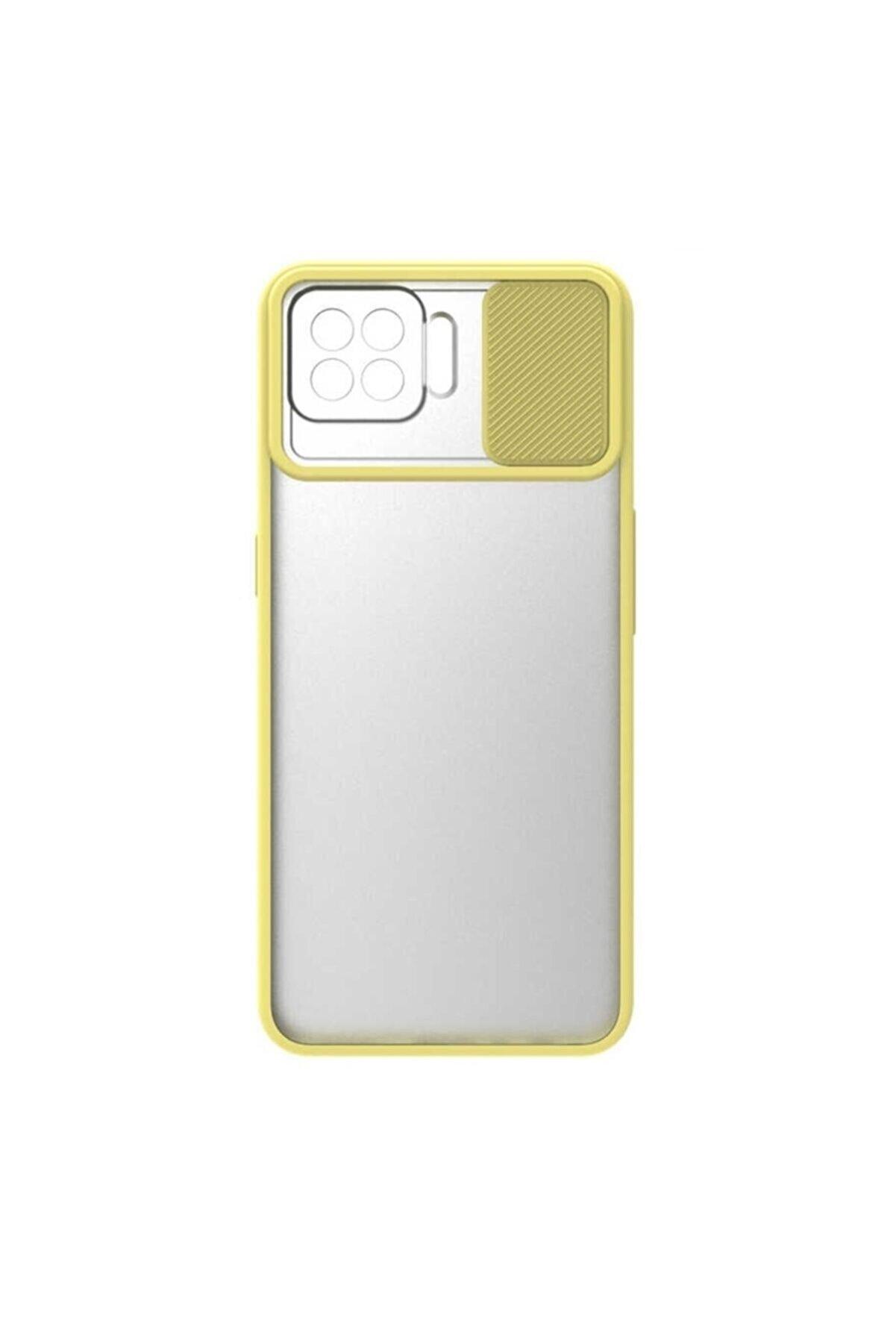 Oppo Nihcase Reno4 Lite Kılıf Lensi Kamera Korumalı Silikon Sarı