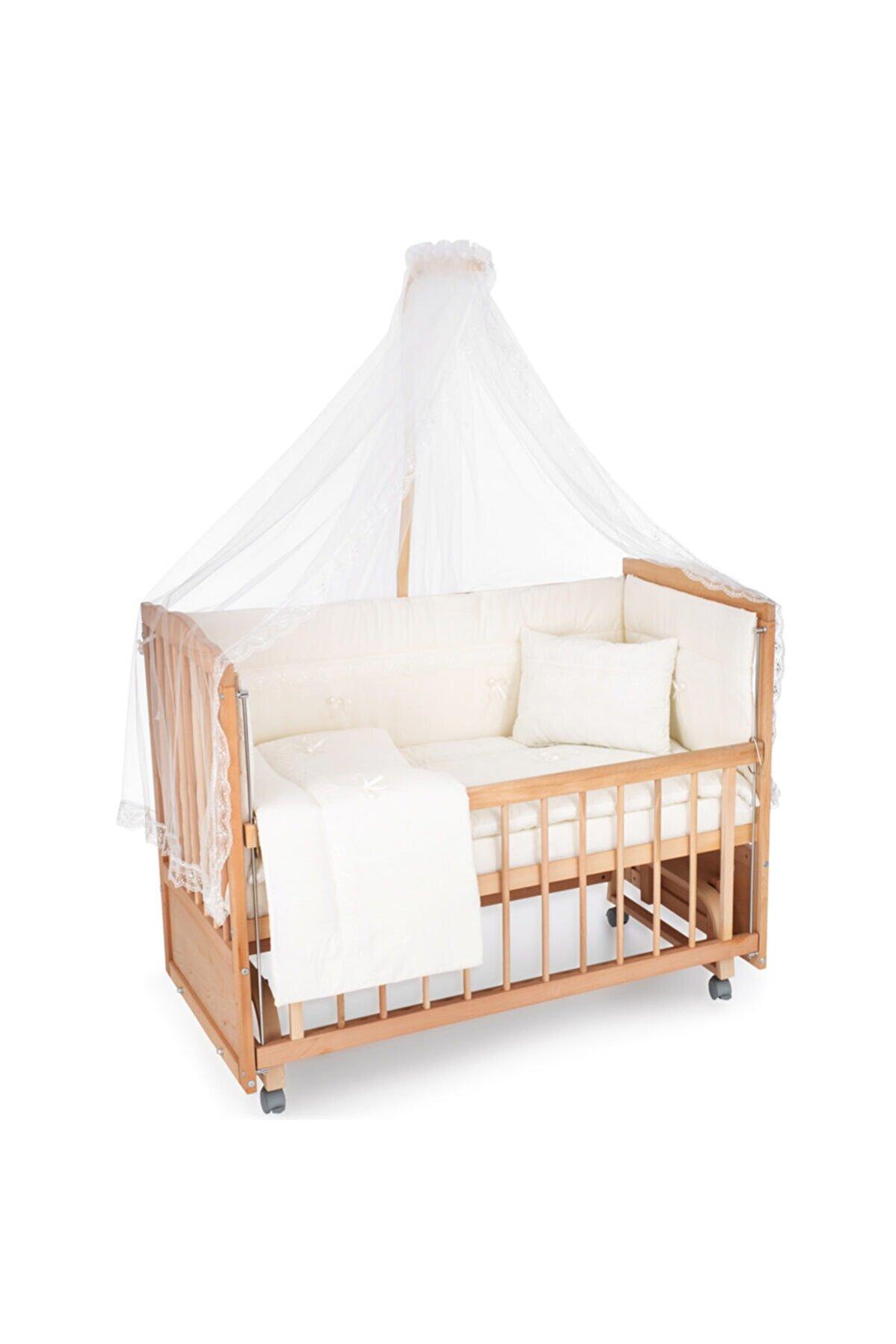 Heyner Ahşap Beşik Anne Yanı Beşik Sallanır Beşik Organik 60x120 + Ekru Güpür Uyku Seti + Yatak + Tekerlek