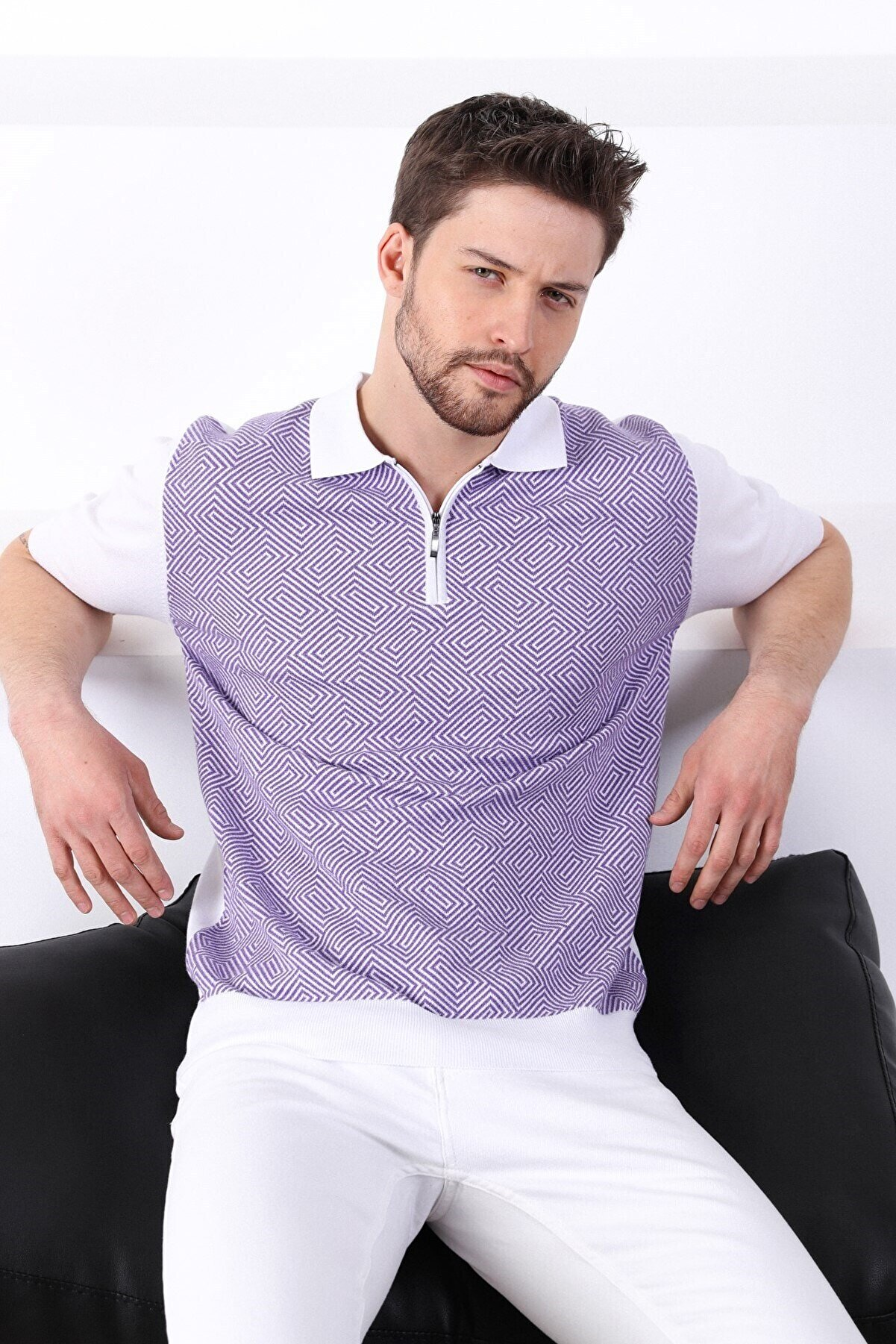 Ferraro Erkek Beyaz Petunia Polo Yaka Desenli Erkek Pamuk Triko T-shirt
