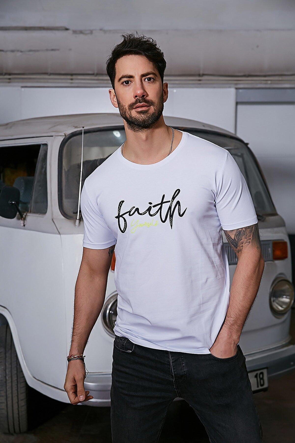Sateen Men Erkek Beyaz Nakışlı T-Shirt