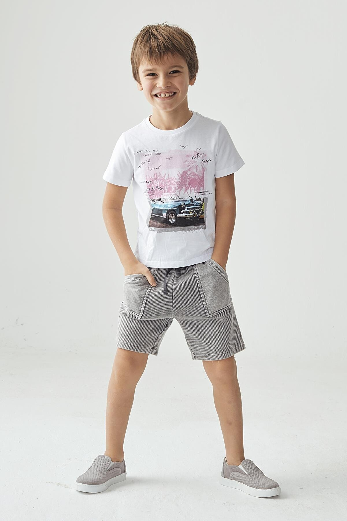 Nebbati Erkek Çocuk Beyaz T-shirt