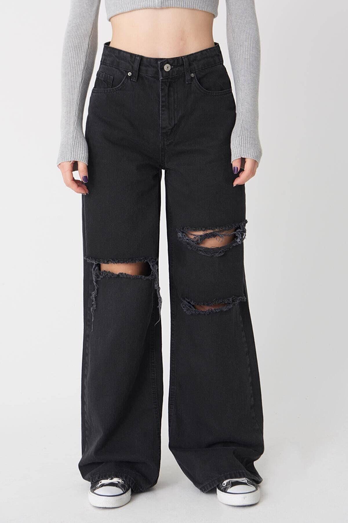 IŞILDA Kadın Giyim Yırtık Detay Bol Paça Jean