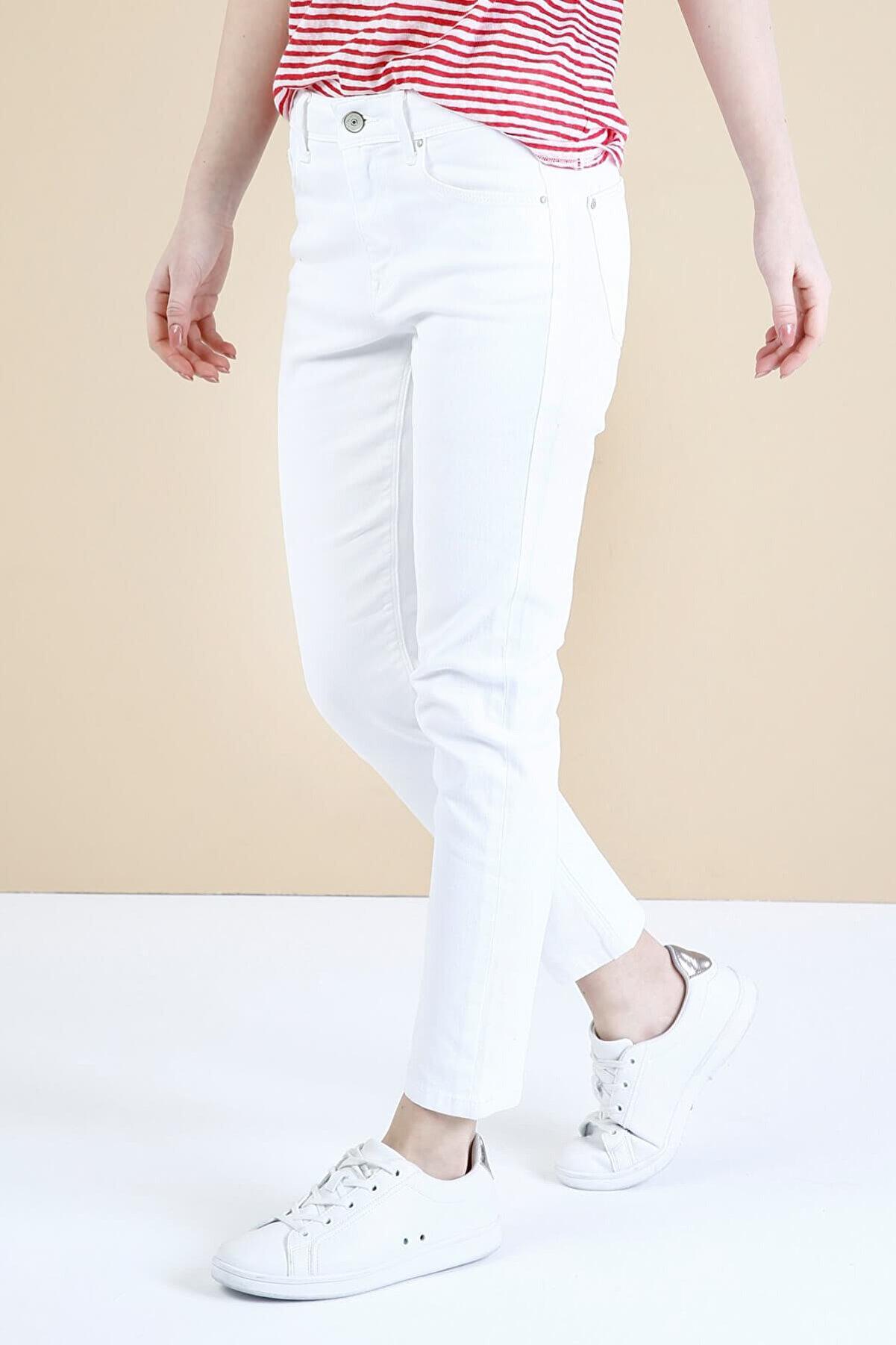 Colin's KADIN 891 Maya Yüksek Bel Düz Paça Cigarette Fit Beyaz Kadın Jean Pantolon CL1034739