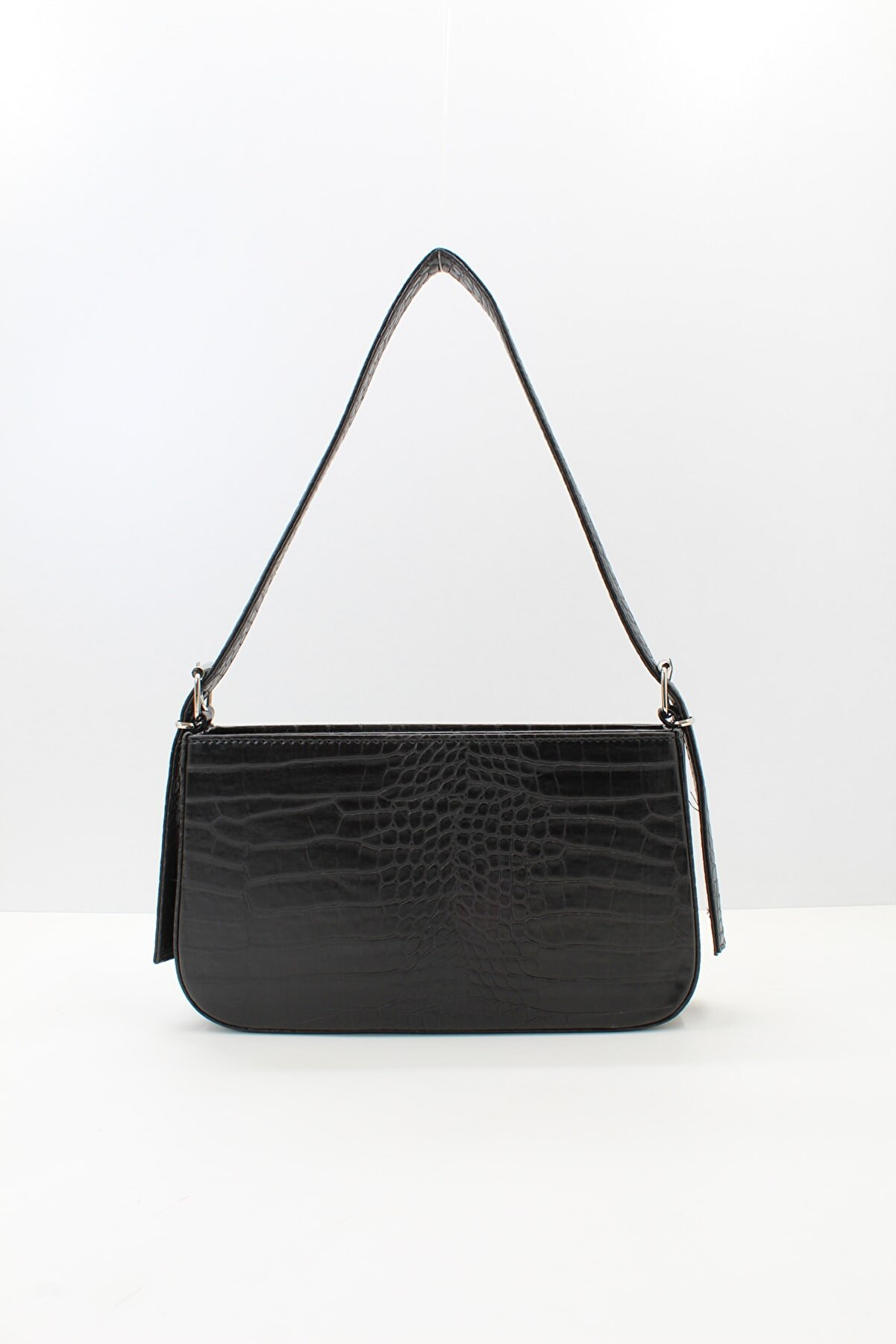 roma italy Kadın Siyah Kroko Fermuarlı Baget Çanta