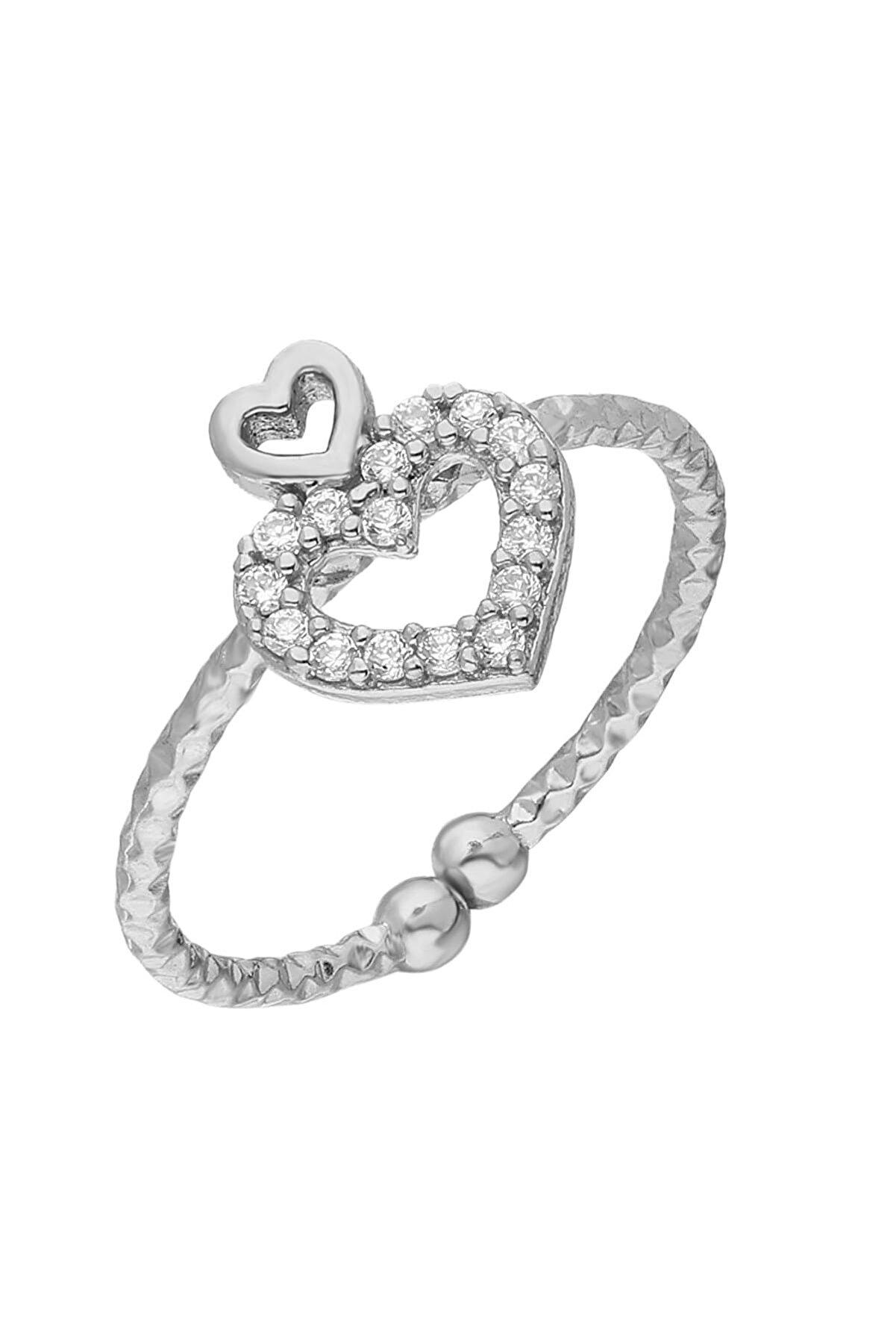 Glorria Kadın Gümüş Kalp Yüzük EG0445