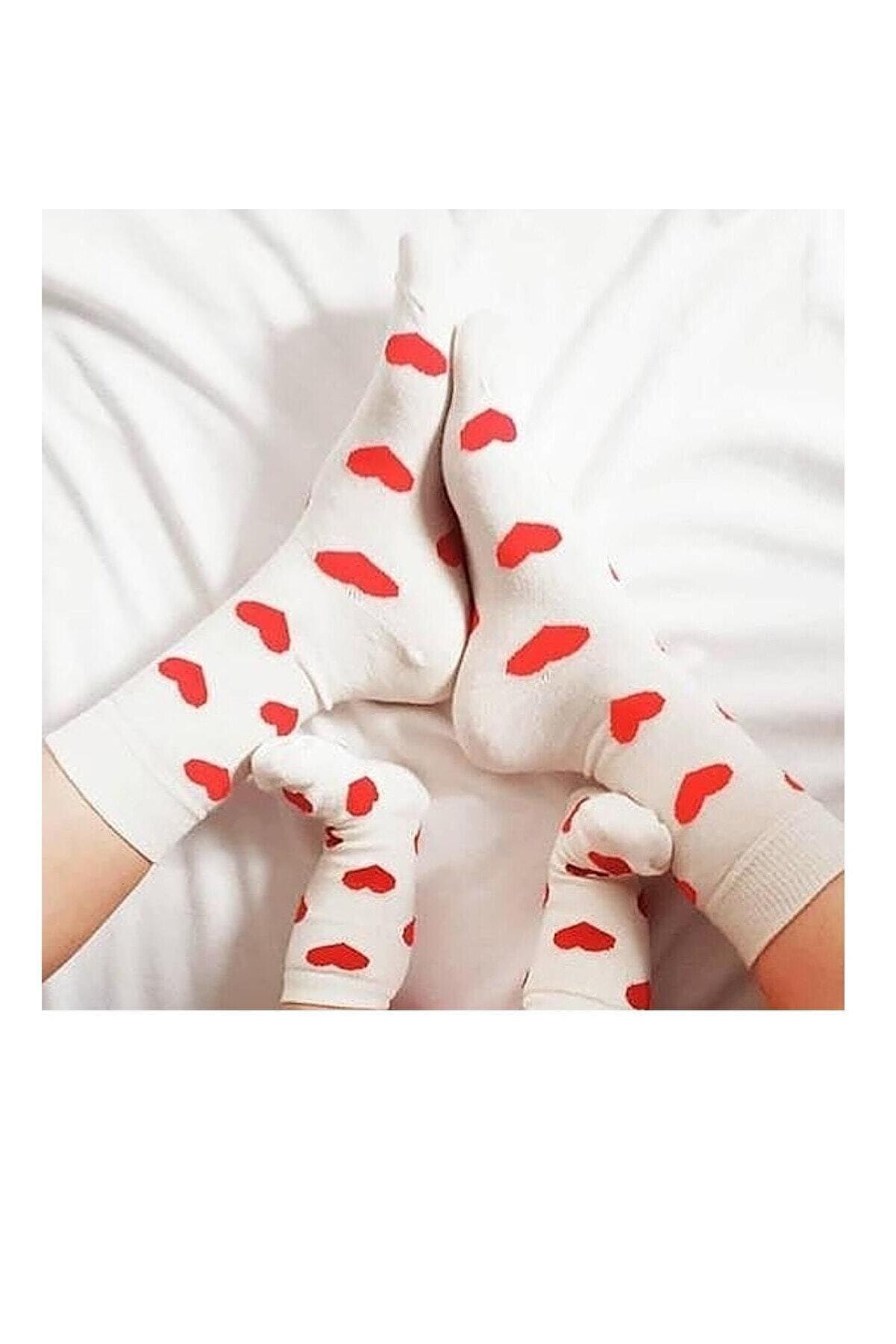 Asa Bebek Çocuk Anne Kız Kalp Desenli  Kombin Takım Çorap