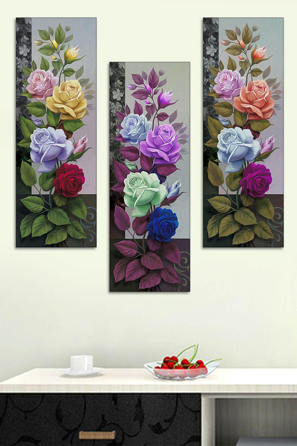 Evimona 3 Parçalı Çiçek Mdf Tablo