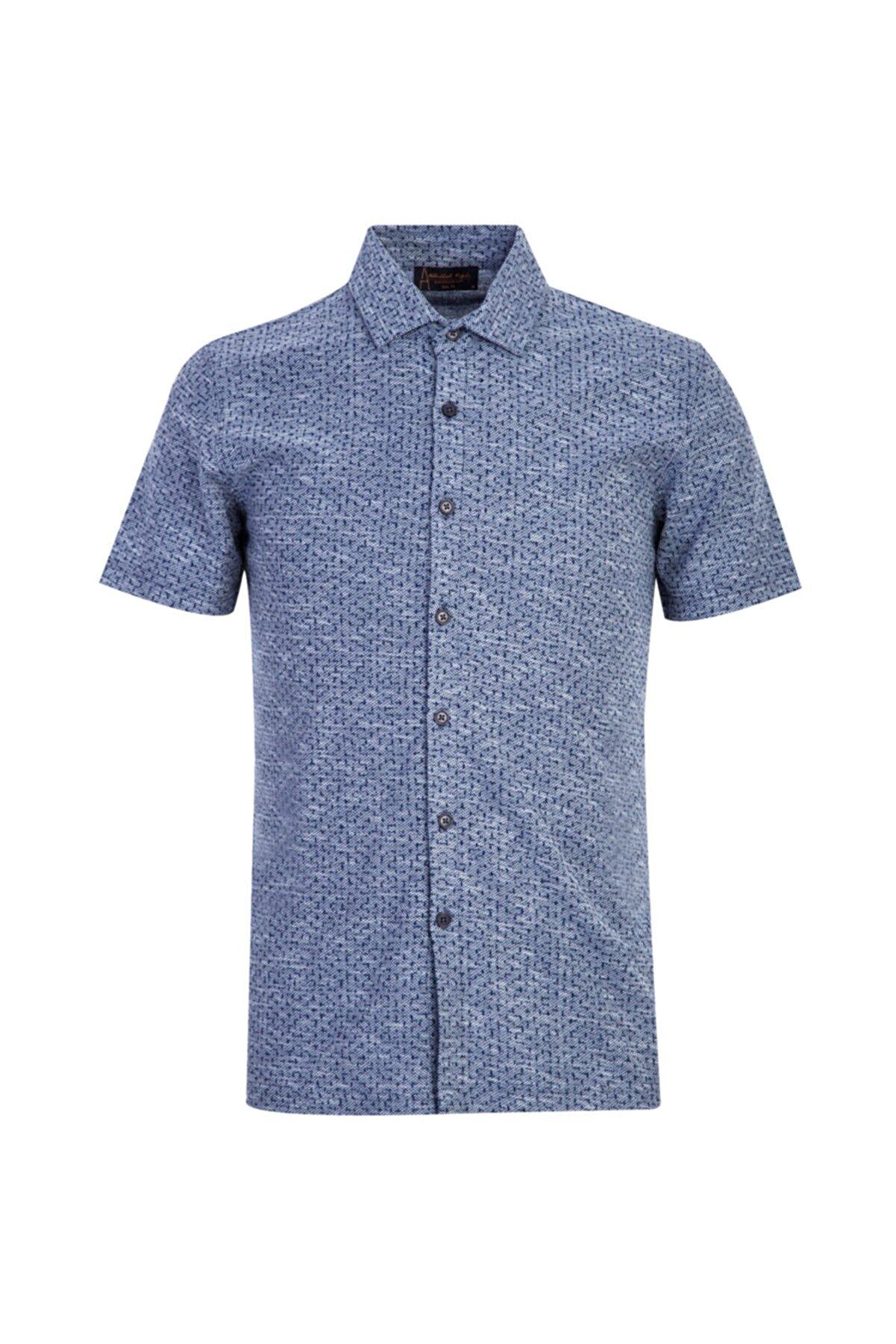 Kiğılı Polo Yaka Slim Fit Düğmeli Desenli Tişört