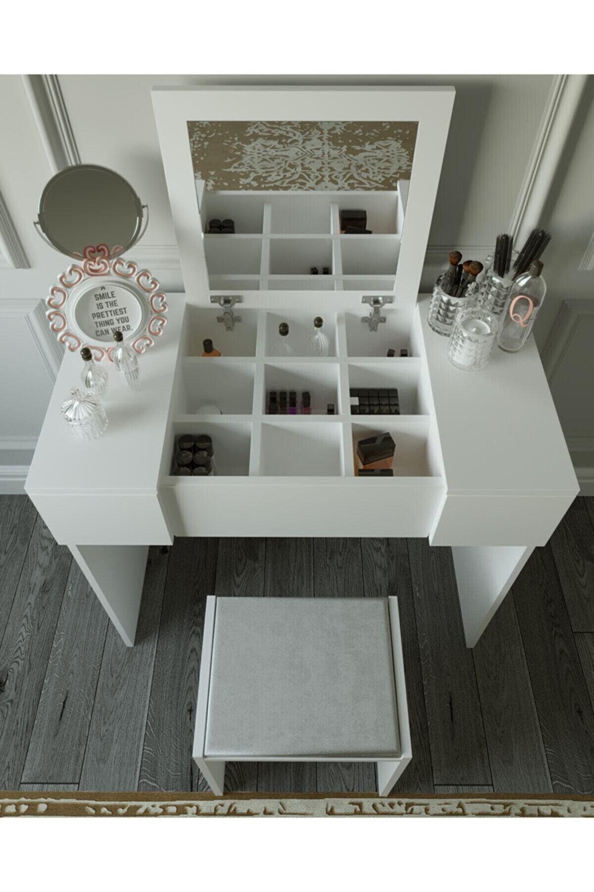 decoAlife Beyaz Makyaj Masası ve Puf
