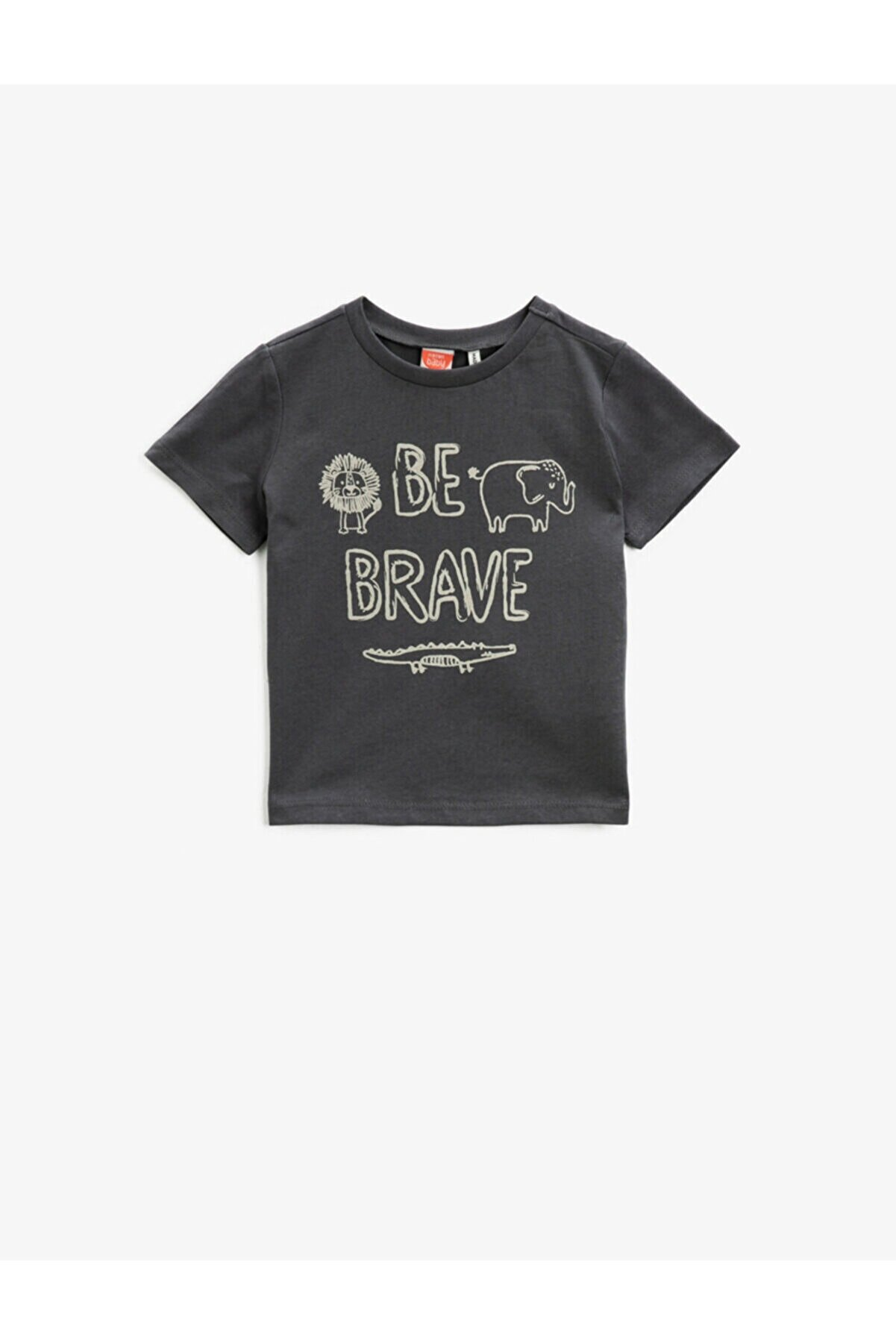 Koton Erkek Bebek Gri  Pamuklu Kısa Kollu Bisiklet Yaka T-Shirt
