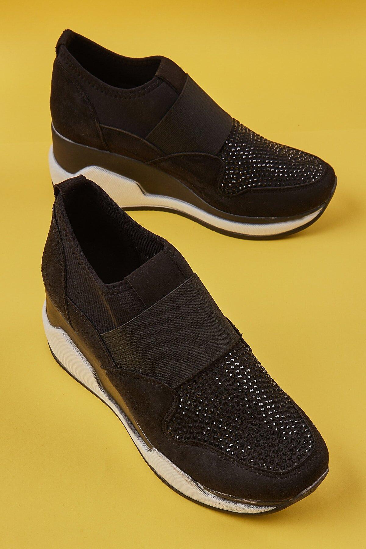Bambi Siyah Süet Kadın Sneaker K01586071672