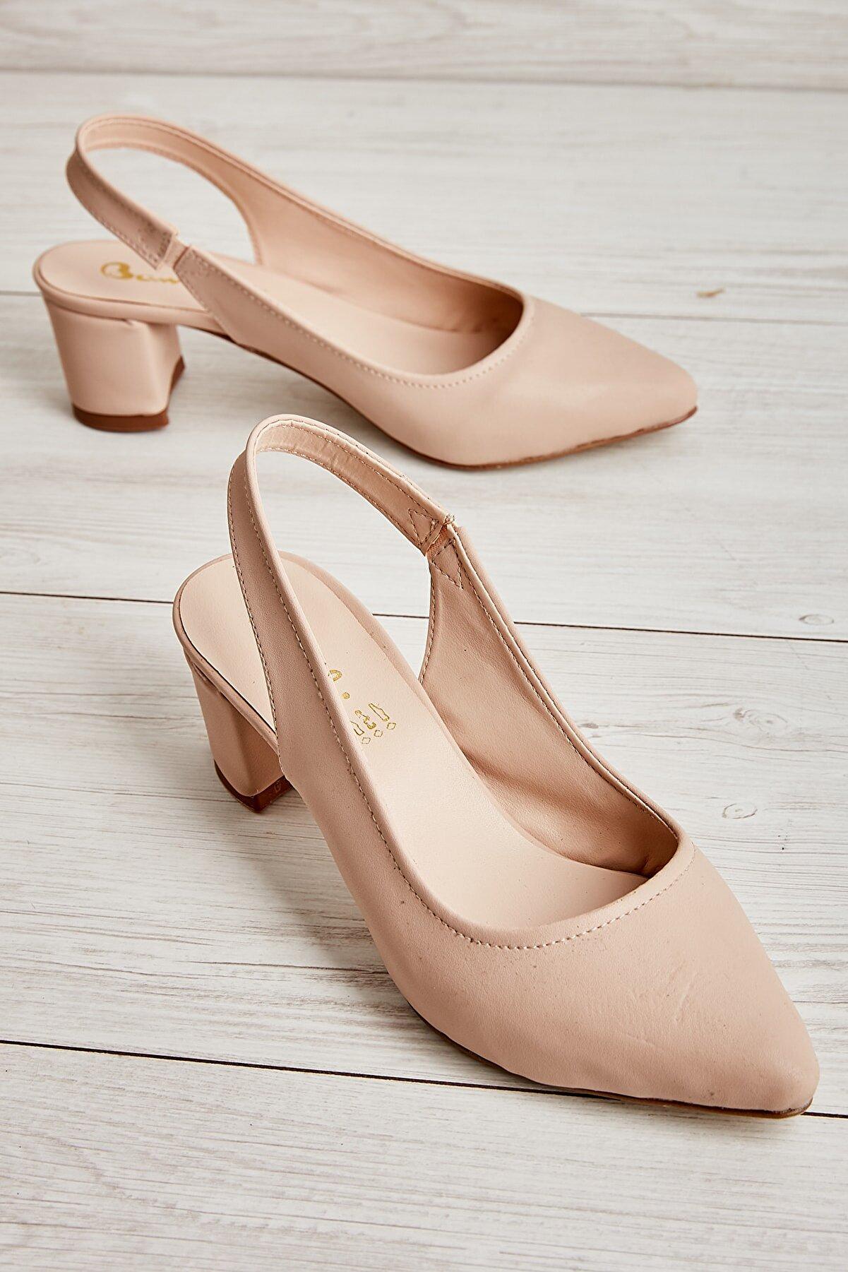 Bambi Nude Nubuk Kadın Klasik Topuklu Ayakkabı K01503721071
