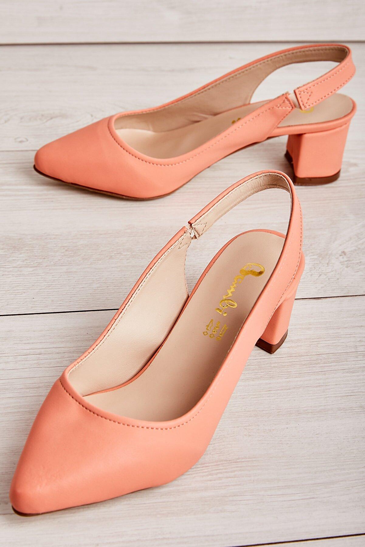 Bambi Yavruağzı Nubuk Kadın Klasik Topuklu Ayakkabı K01503721071