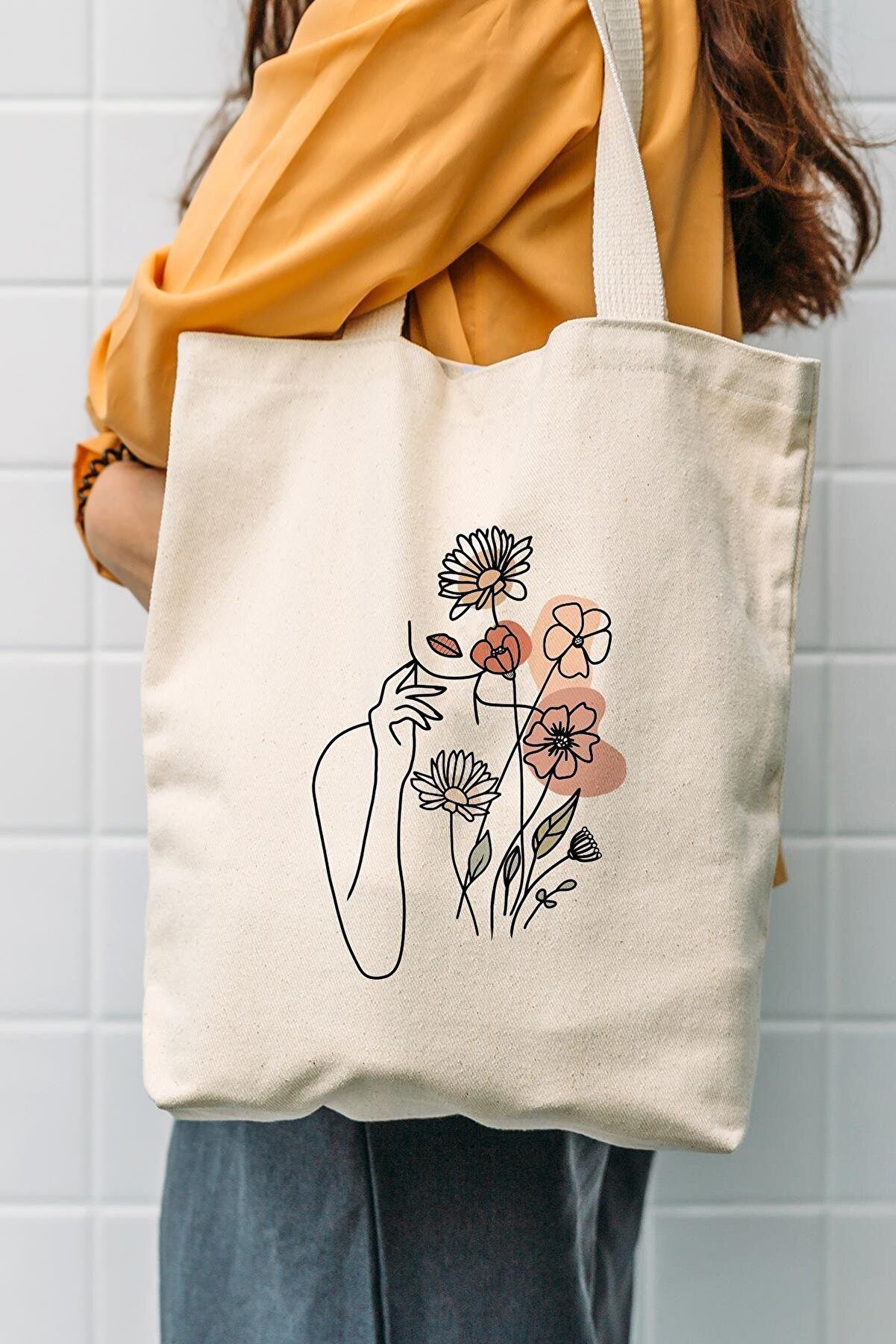 Çınar Bez Çanta Kanvas Çiçek Kadın Baskılı Bez Çanta