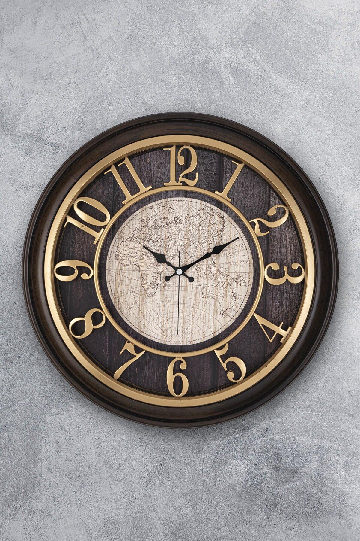 EMORES Akar Saniye Sessiz Mekanizma Dekoratif Duvar Saati 46 Cm