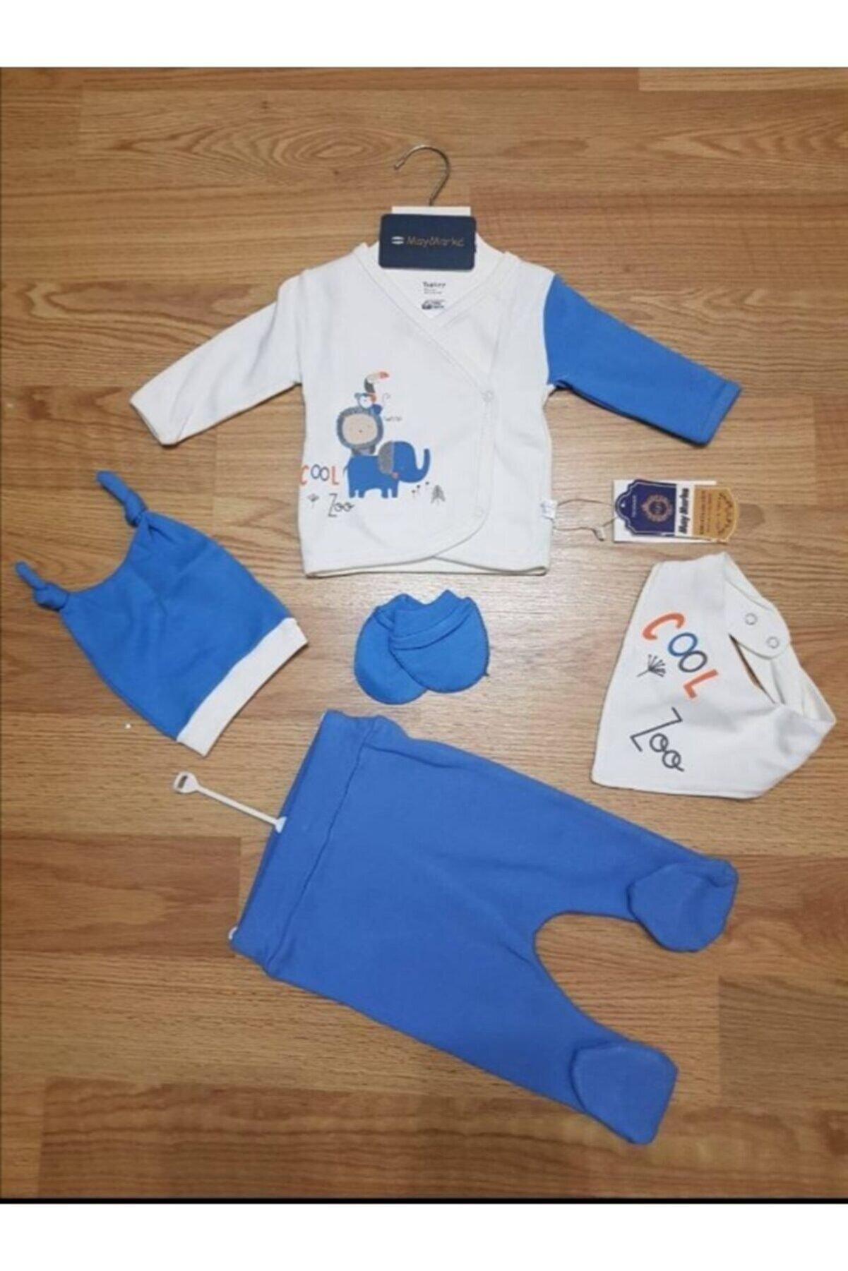 Baby Point Erkek Bebek MaviHastane Çıkışı Set 5 li