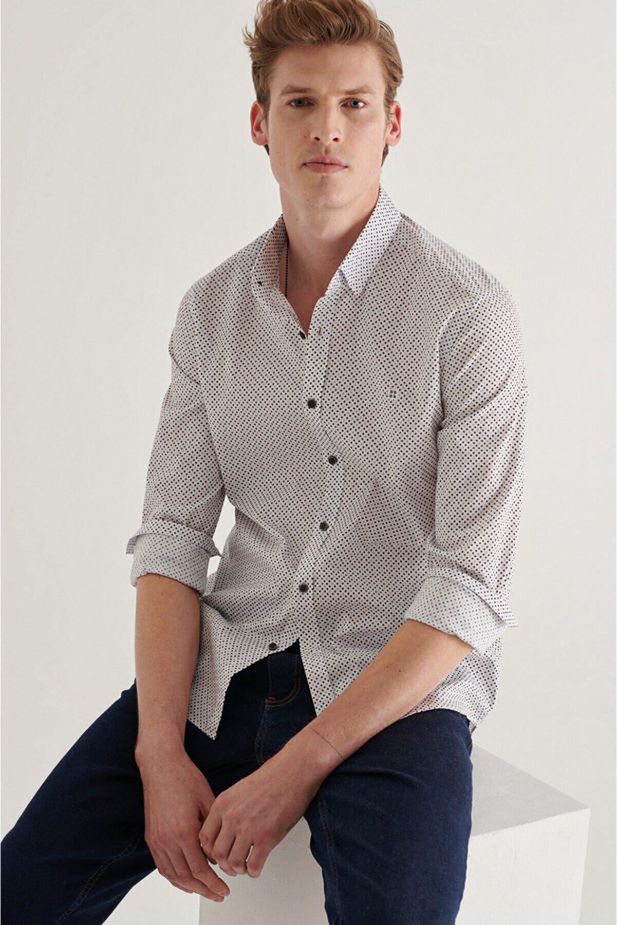 Avva Erkek Siyah-beyaz Baskılı Alttan Britli Yaka Slim Fit Garnili Gömlek A11y2131