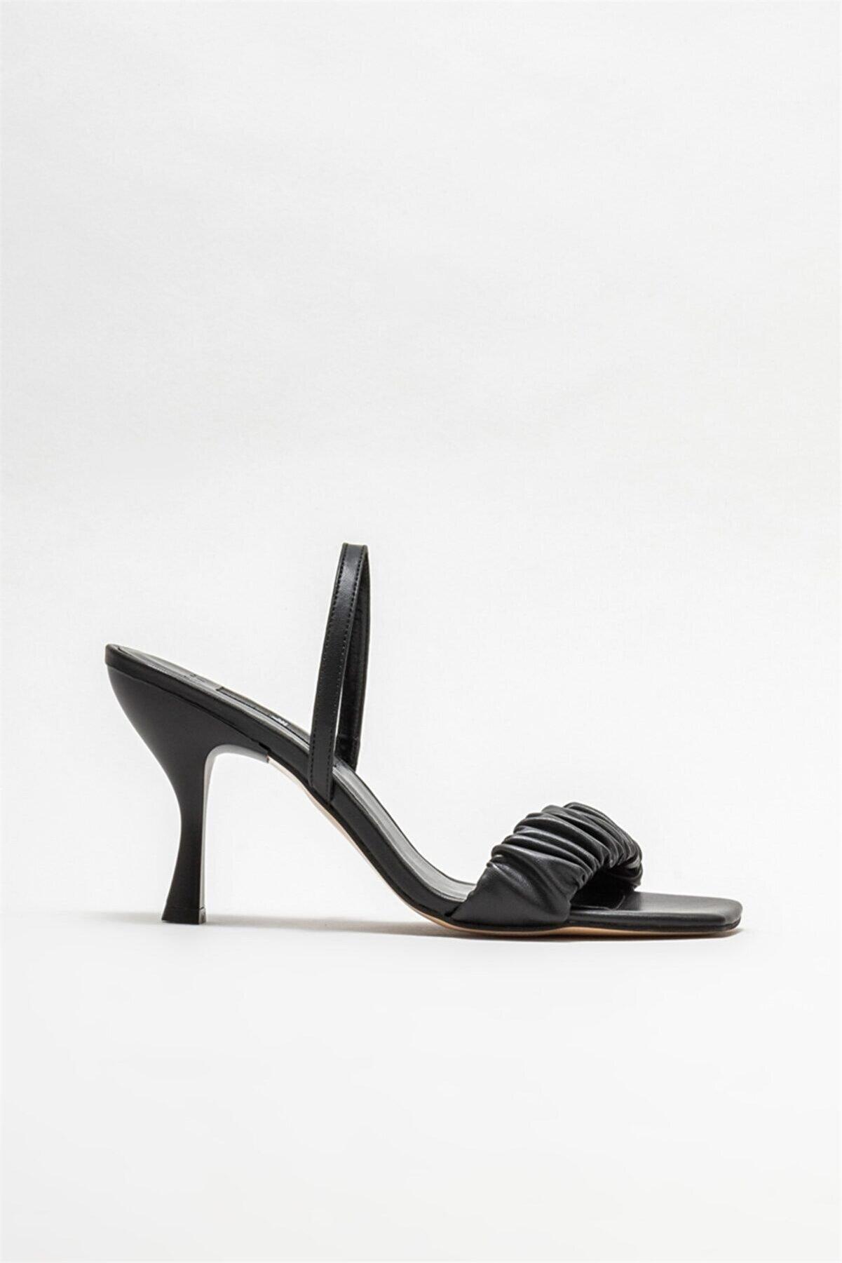 Elle Kadın Siyah Topuklu Sandalet