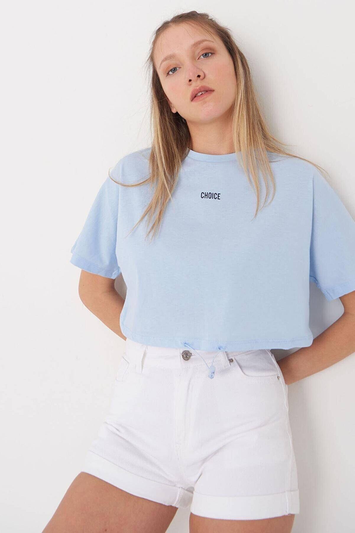 Addax Kadın Buz Mavi Choıce Yazılı Tişört P0874 - L13 Adx-0000021844