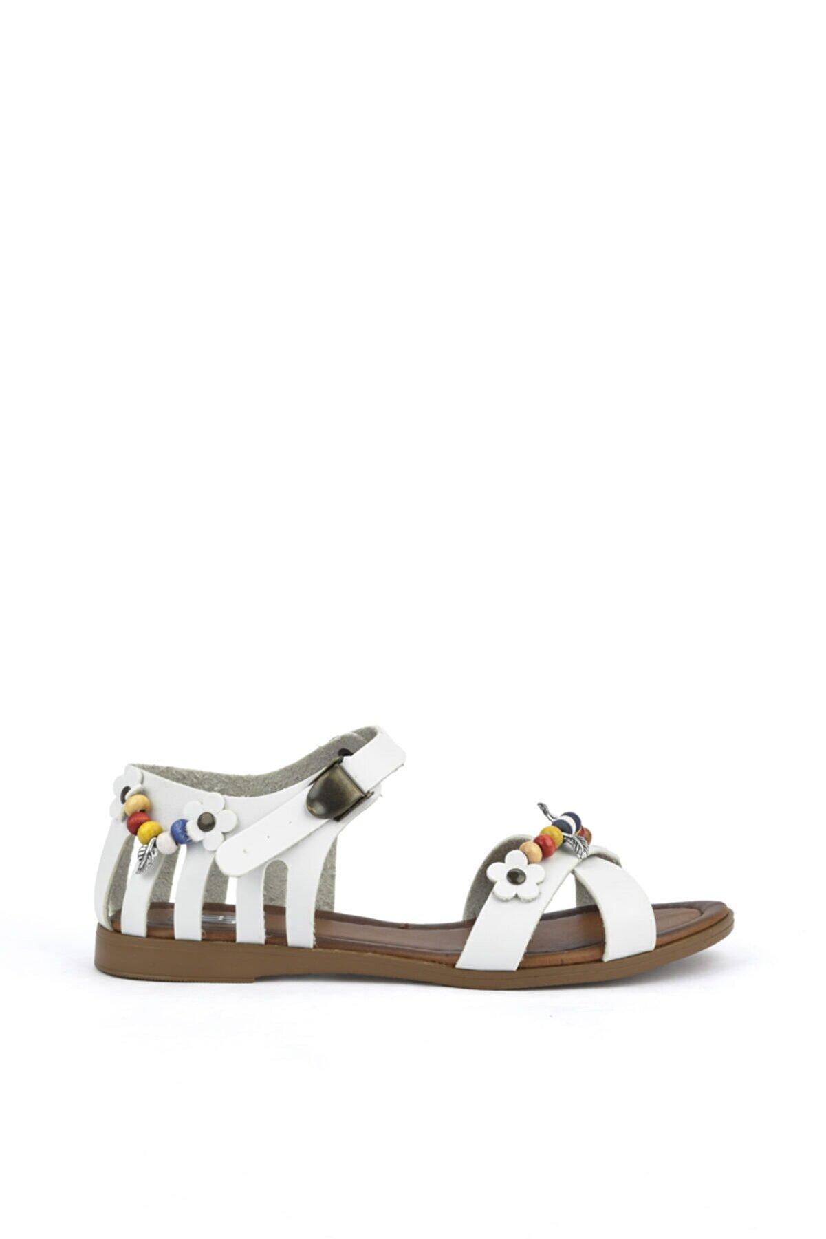 Ziya , Kadın Hakiki Deri Sandalet 111415 Z311005 Beyaz