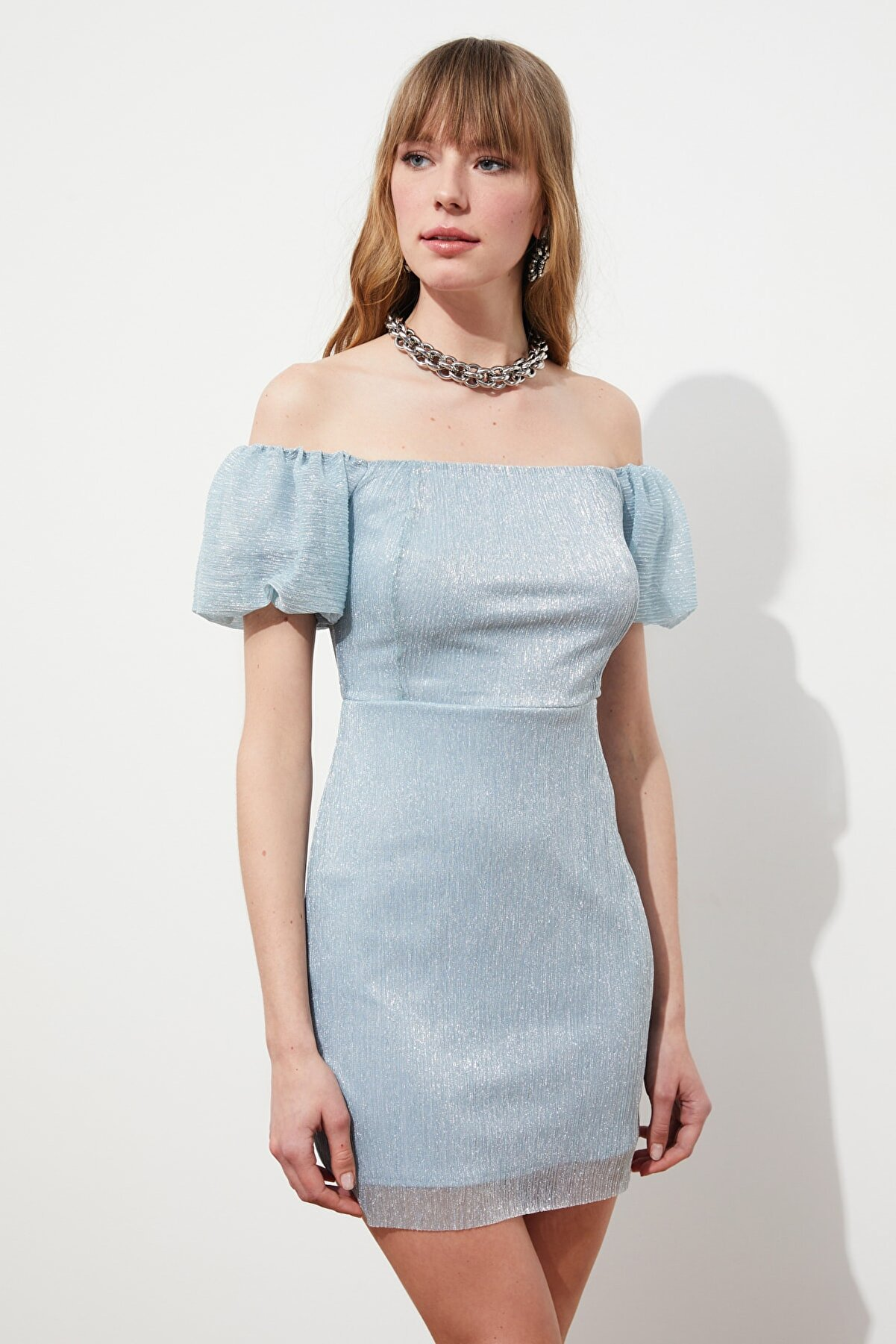 TRENDYOLMİLLA Açık Mavi Işıltılı Elbise TPRSS21EL2197