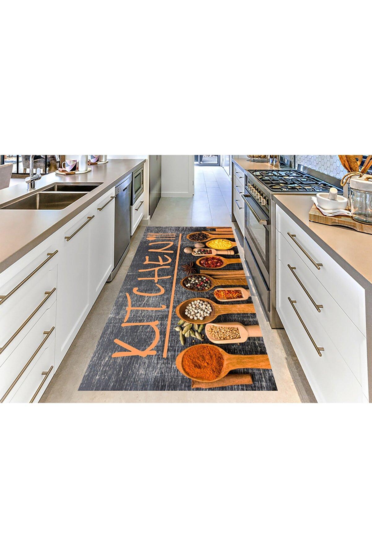 CARİA HOME Gri Zemin Turuncu Mutfak Simgeleri Desenli Mutfak Halısı