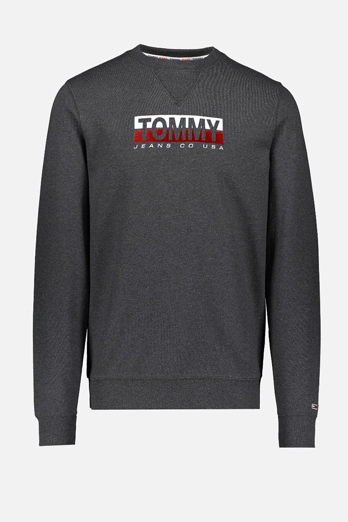 Tommy Hilfiger Erkek Gri Sweatshirt Tjm Essentıal Splıt Box Crew DM0DM08732