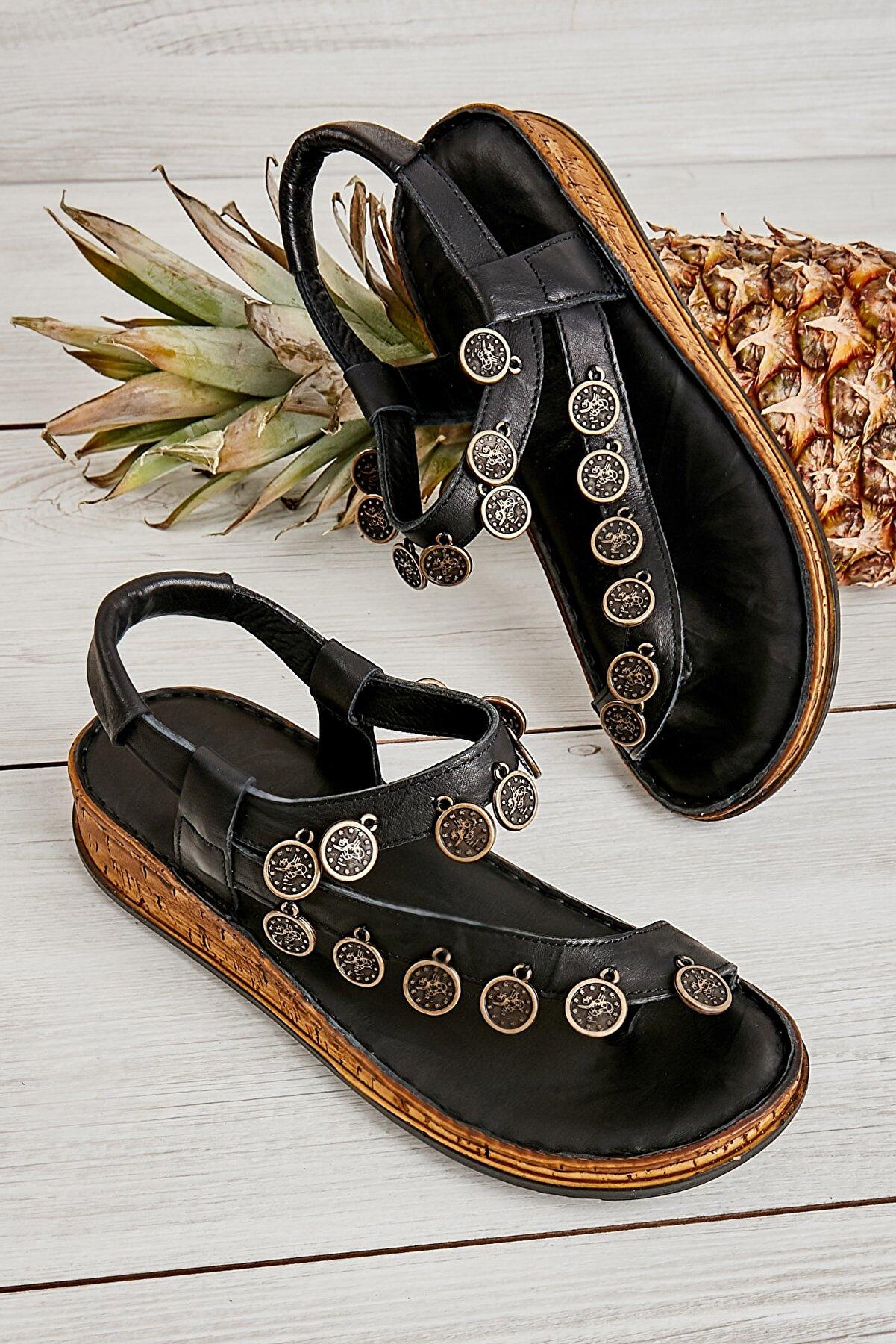 Bambi Hakiki Deri Siyah Kadın Sandalet K05809187203